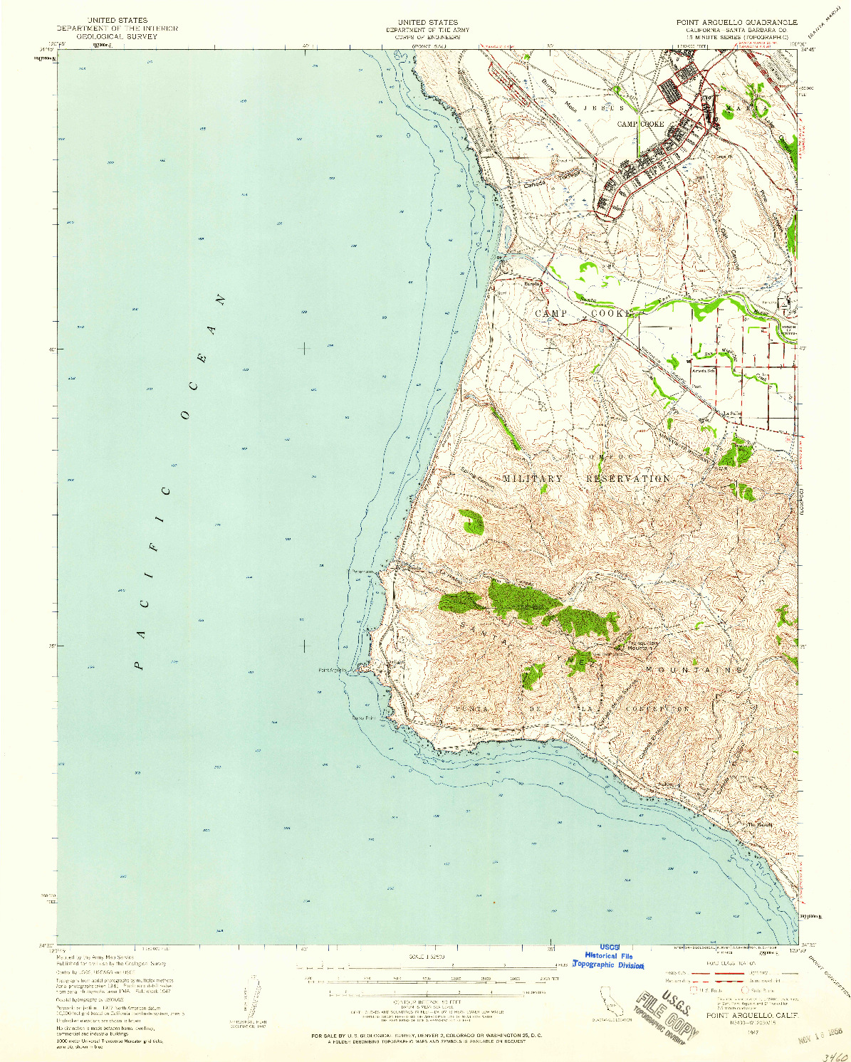 USGS 1:62500-SCALE QUADRANGLE FOR POINT ARGUELLO, CA 1947