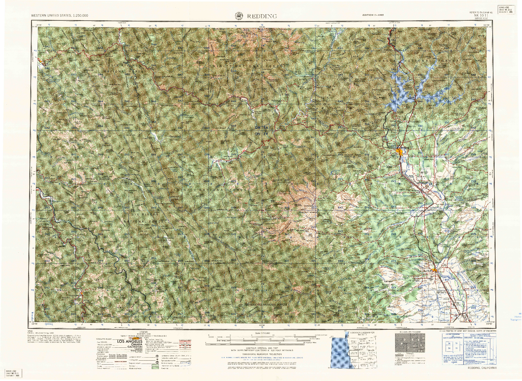 USGS 1:250000-SCALE QUADRANGLE FOR REDDING, CA 1958