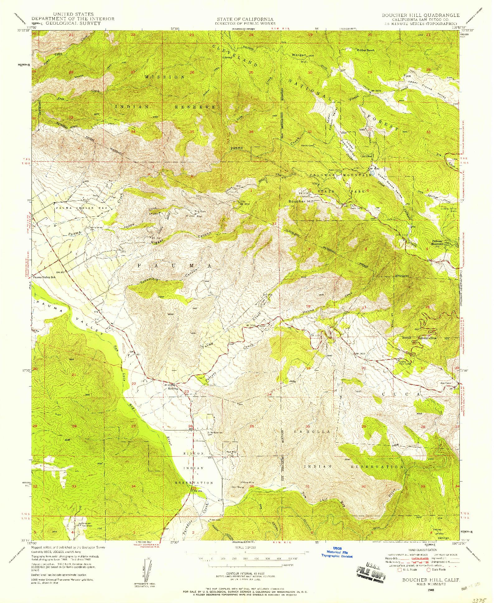 USGS 1:24000-SCALE QUADRANGLE FOR BOUCHER HILL, CA 1948