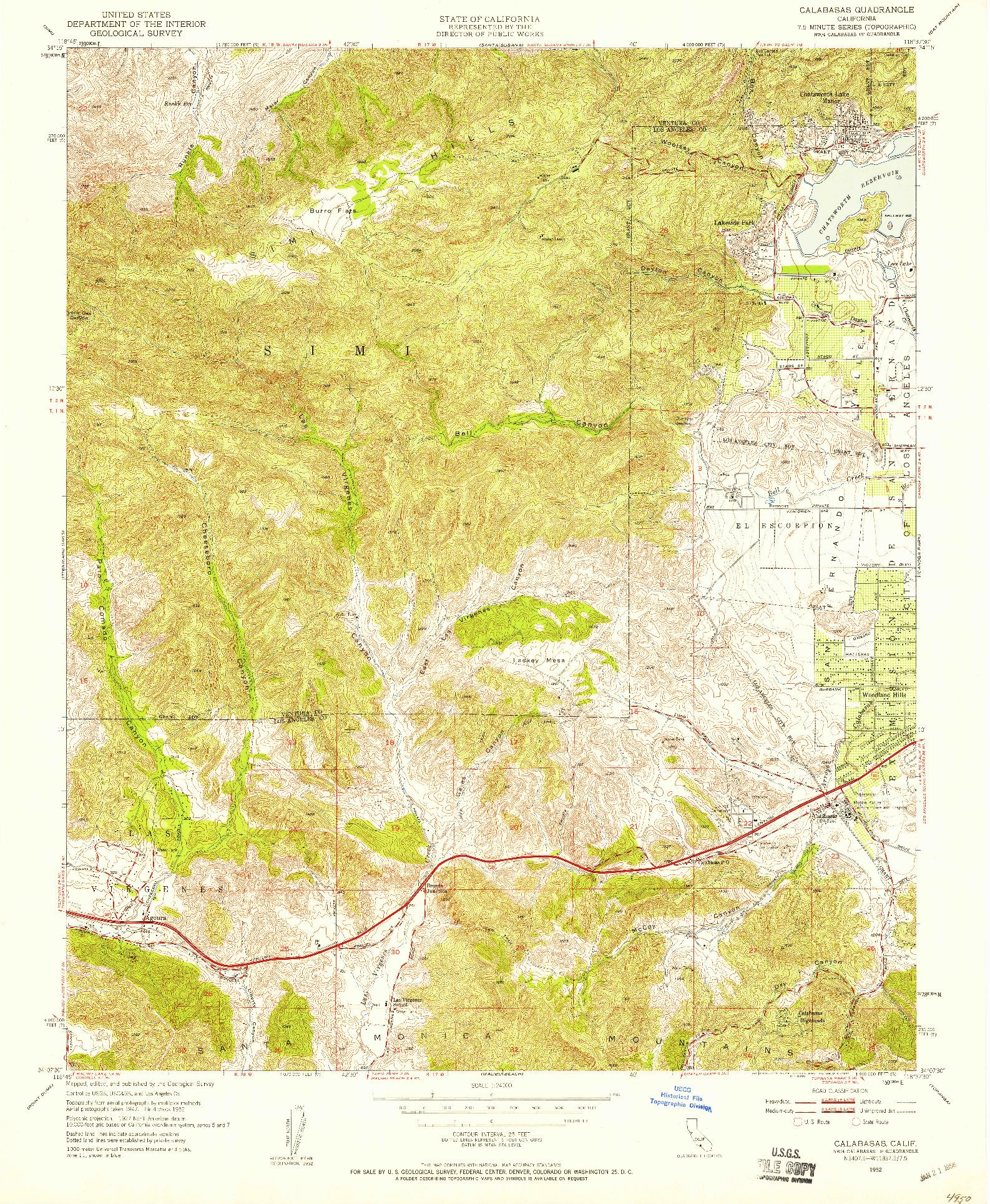 USGS 1:24000-SCALE QUADRANGLE FOR CALABASAS, CA 1952