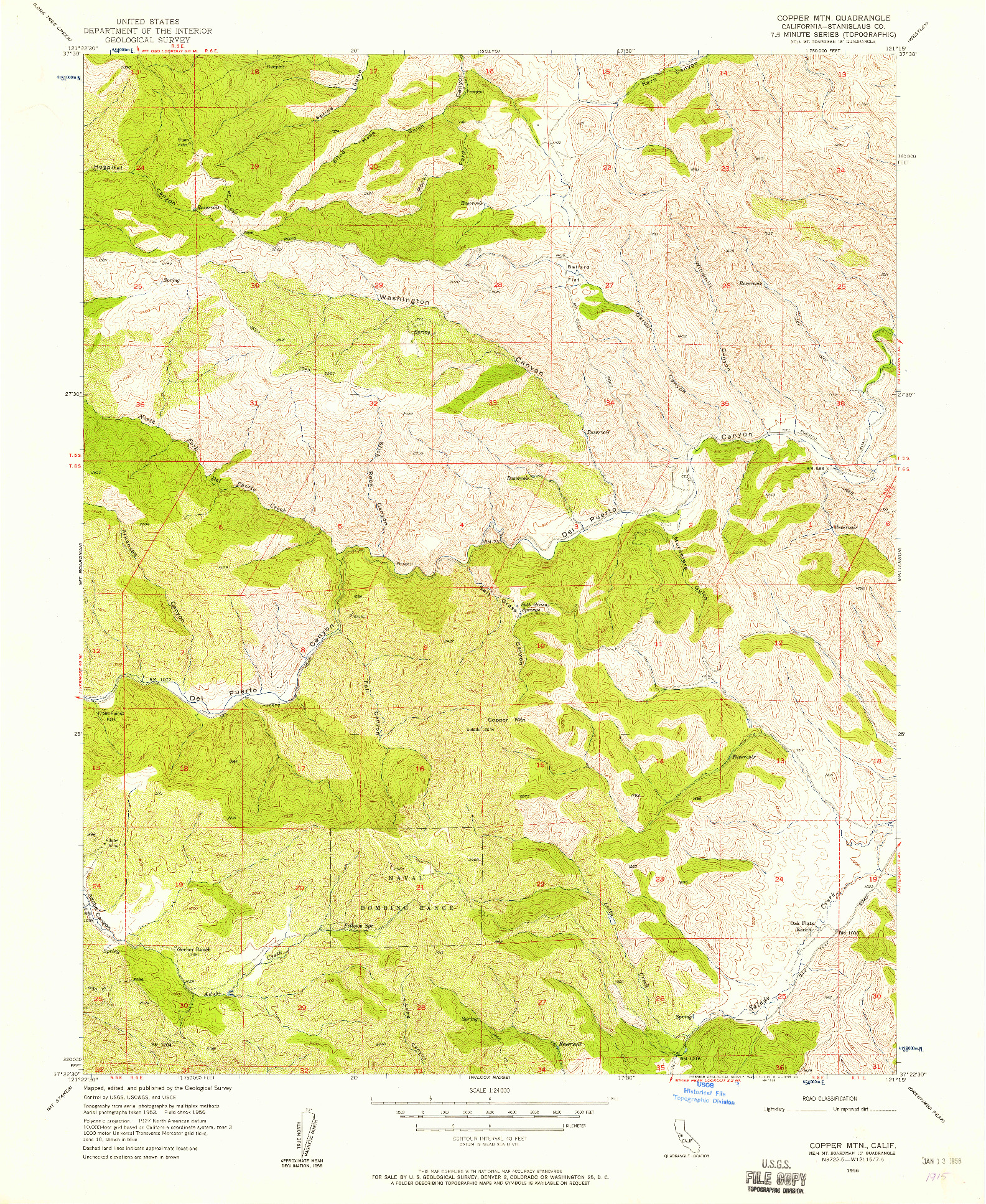 USGS 1:24000-SCALE QUADRANGLE FOR COPPER MTN, CA 1956