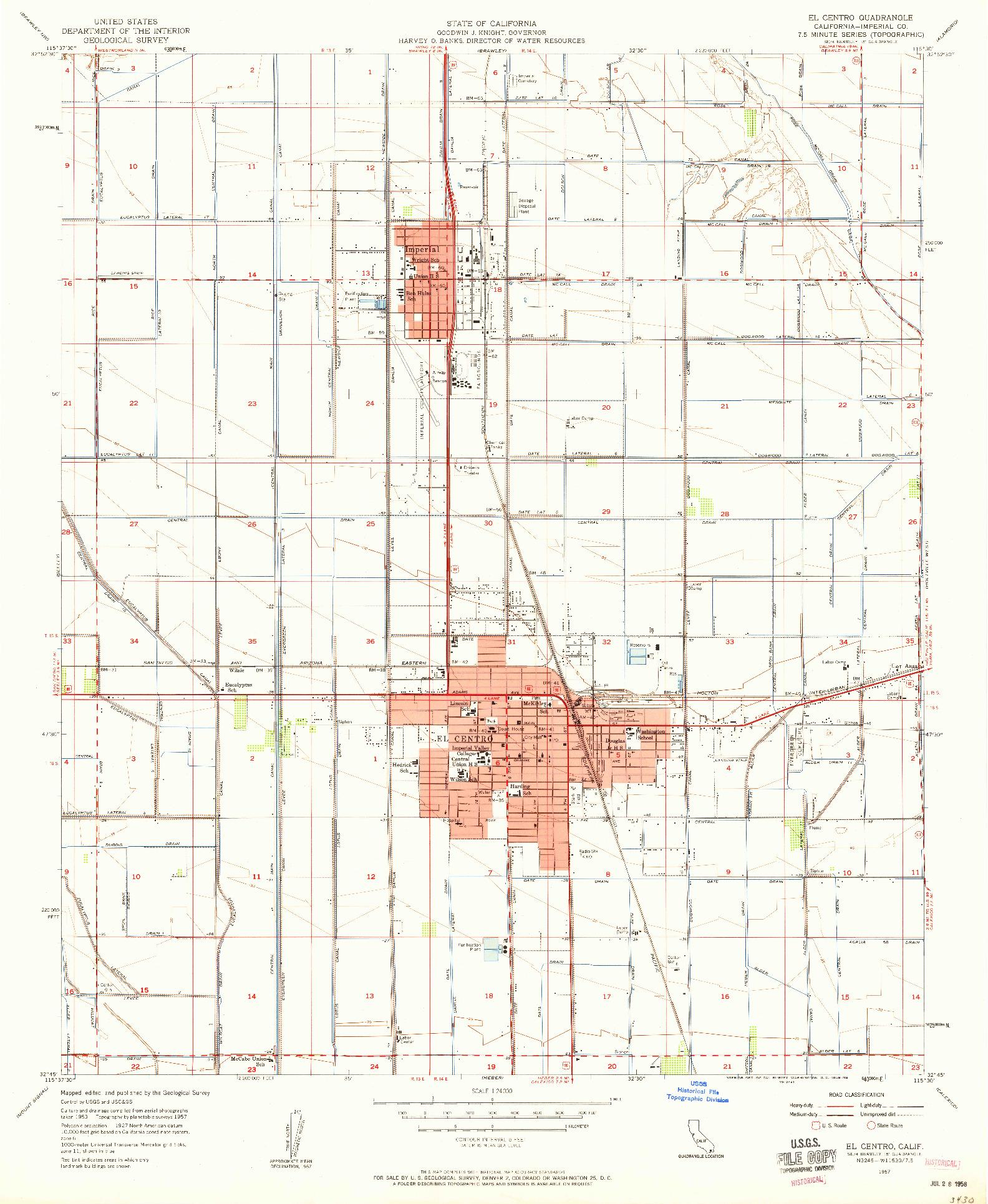 USGS 1:24000-SCALE QUADRANGLE FOR EL CENTRO, CA 1957