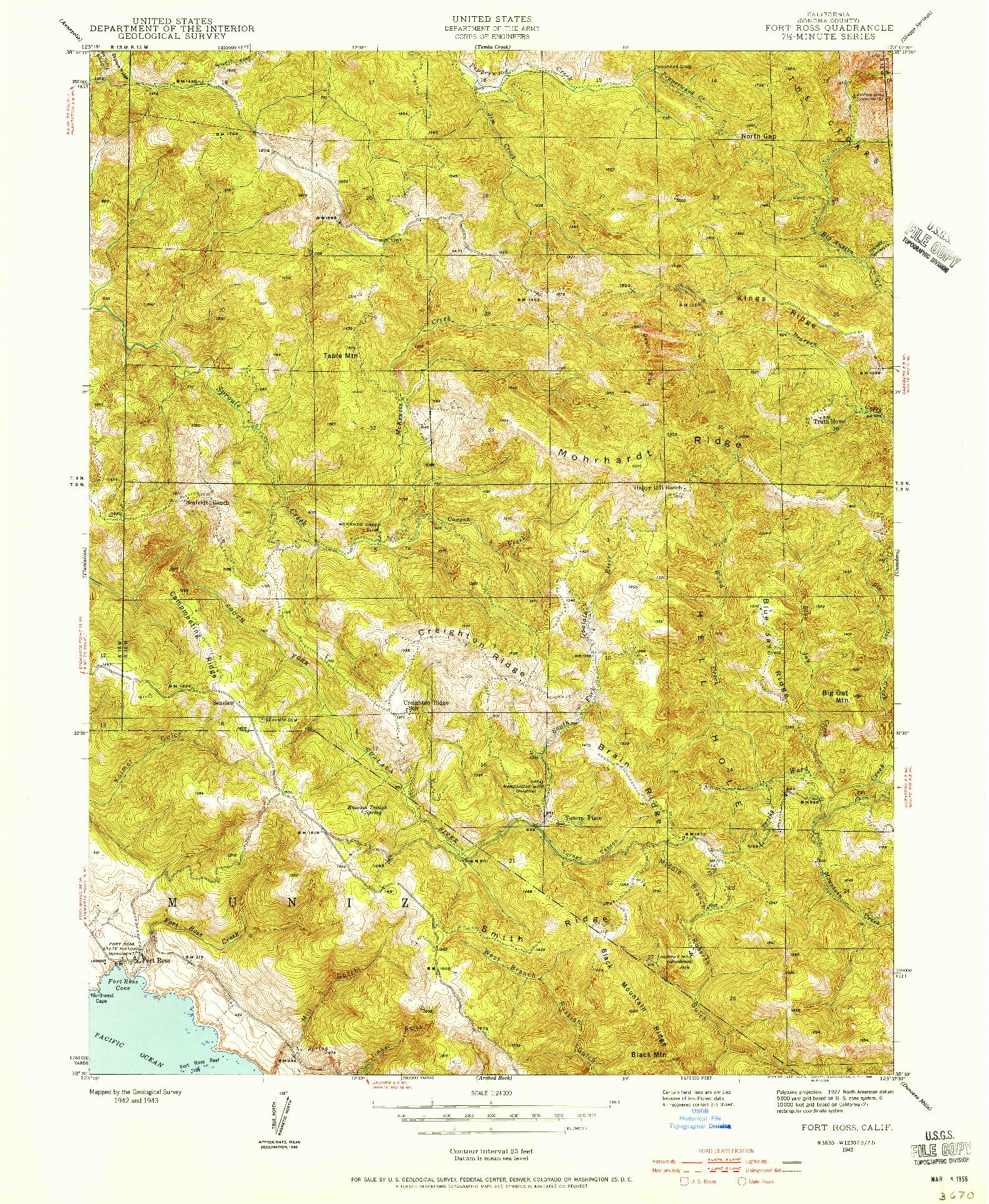 USGS 1:24000-SCALE QUADRANGLE FOR FORT ROSS, CA 1943
