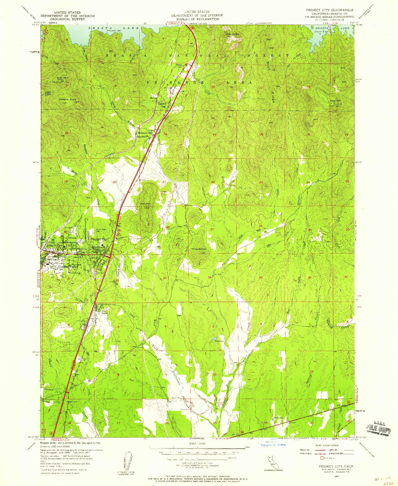 USGS 1:24000-SCALE QUADRANGLE FOR PROJECT CITY, CA 1957