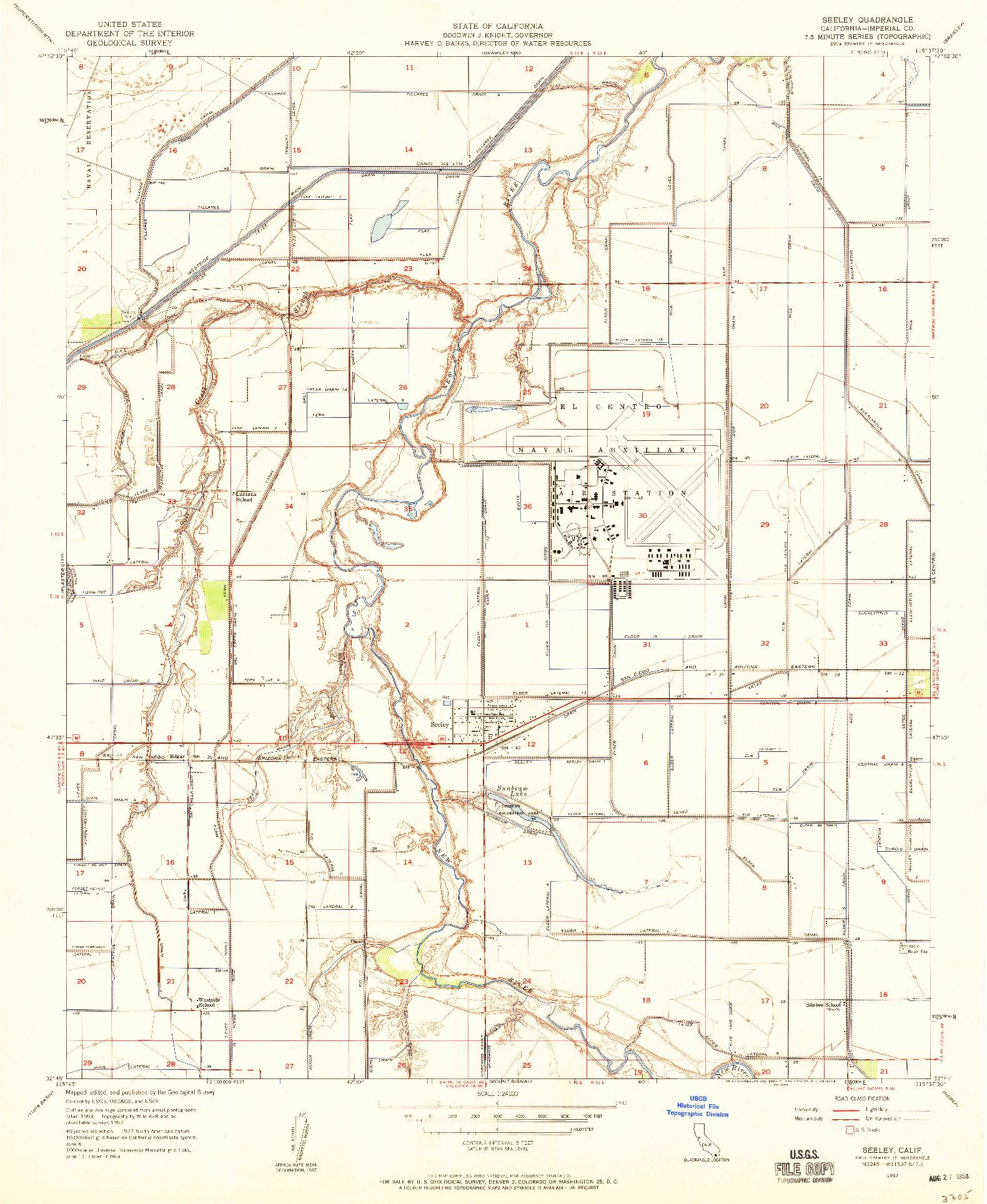 USGS 1:24000-SCALE QUADRANGLE FOR SEELEY, CA 1957