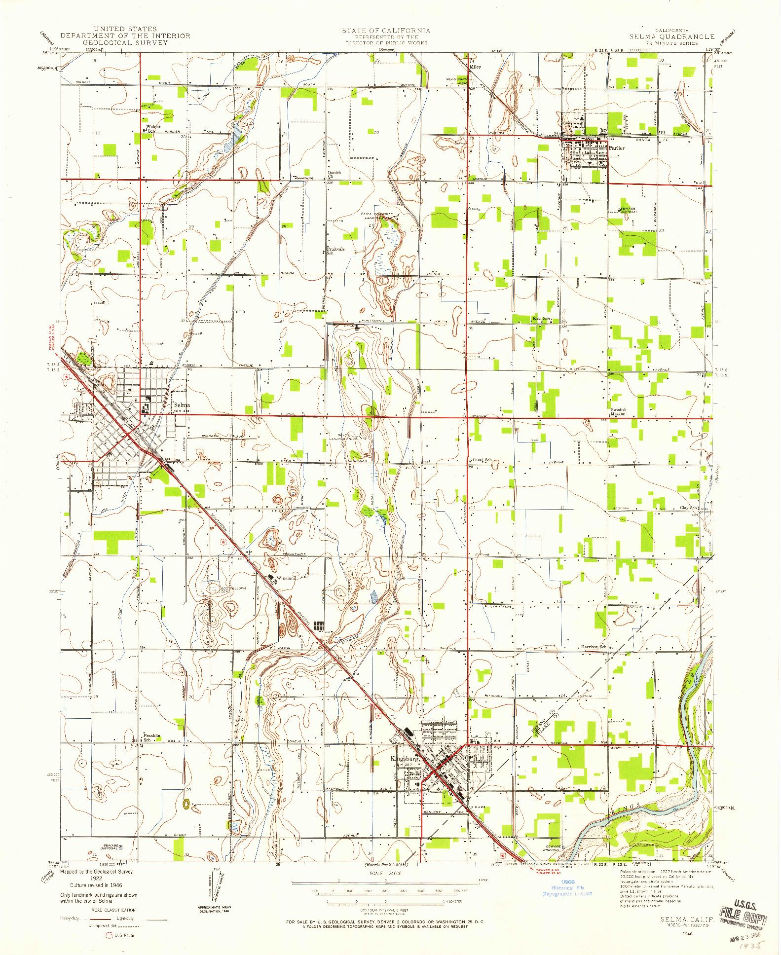 USGS 1:24000-SCALE QUADRANGLE FOR SELMA, CA 1946