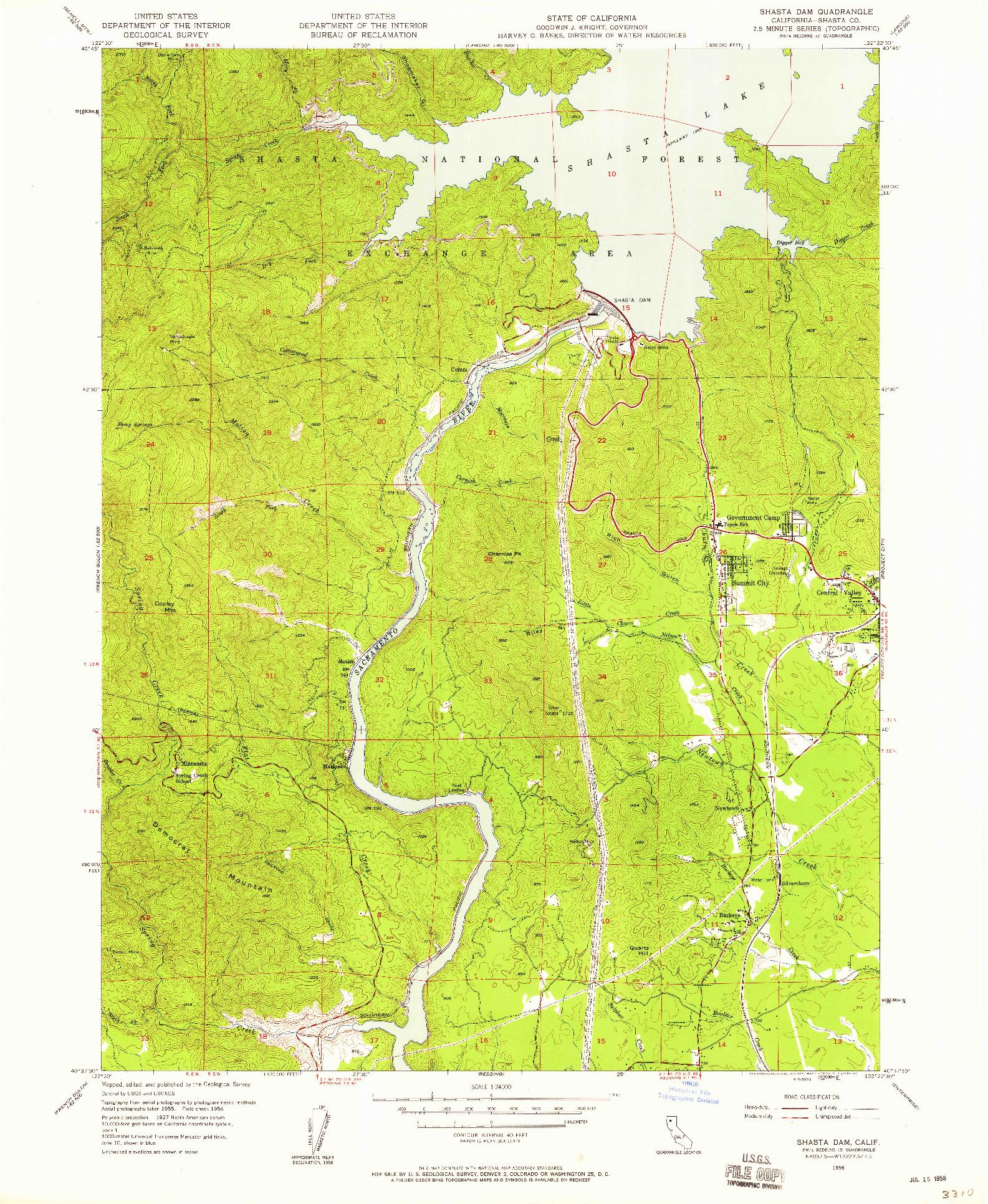 USGS 1:24000-SCALE QUADRANGLE FOR SHASTA DAM, CA 1956