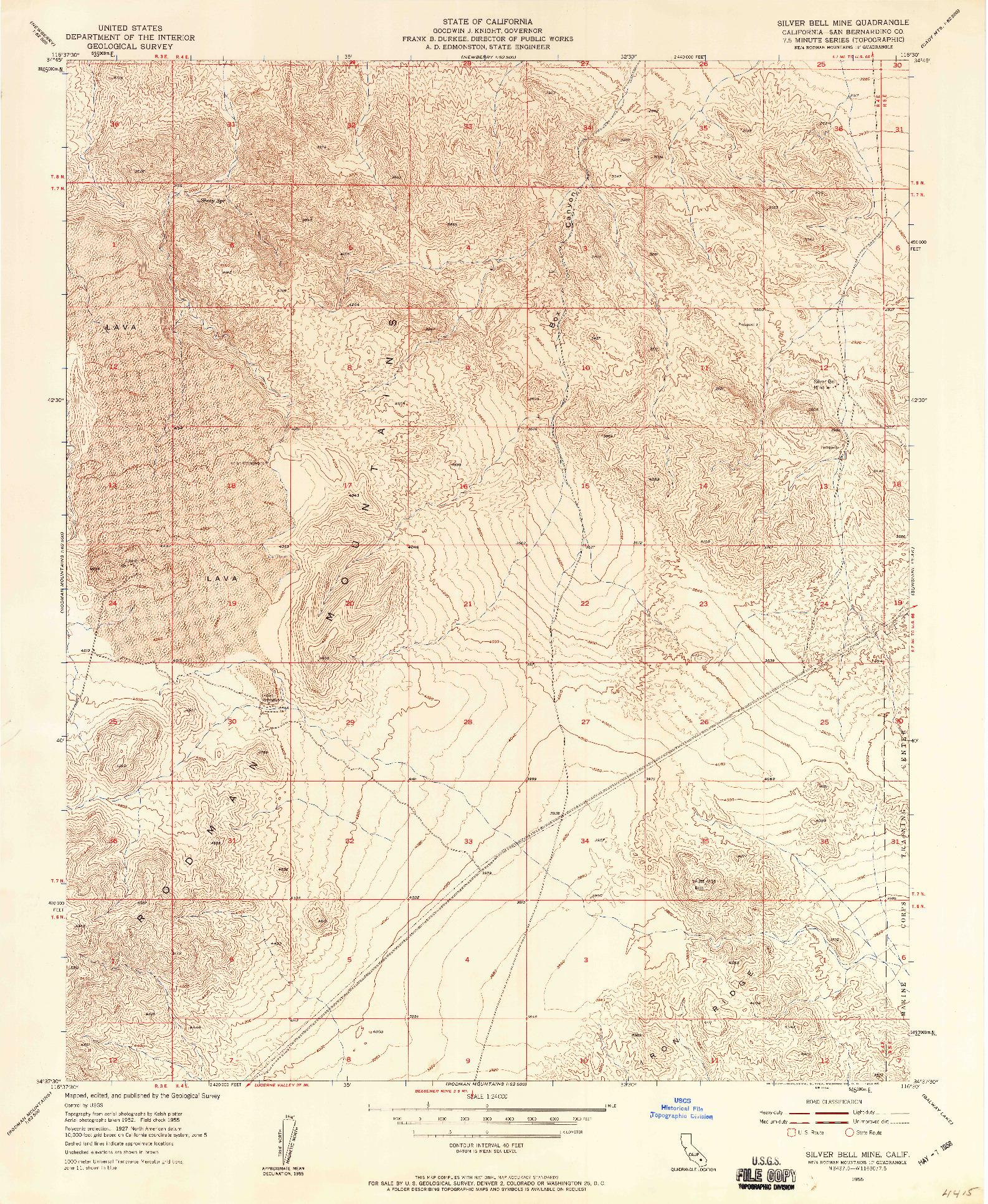 USGS 1:24000-SCALE QUADRANGLE FOR SILVER BELL MINE, CA 1955
