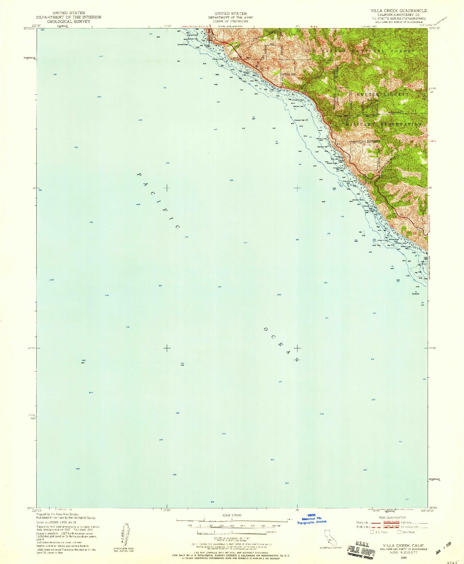 USGS 1:24000-SCALE QUADRANGLE FOR VILLA CREEK, CA 1949