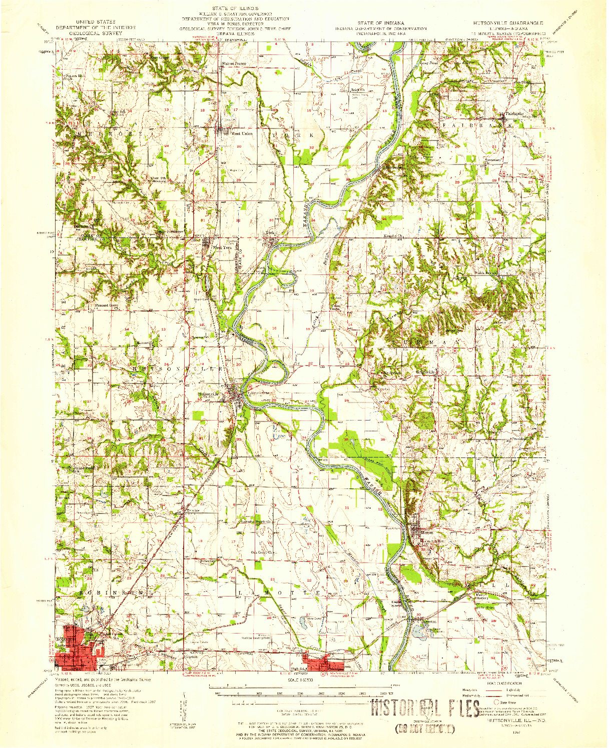 USGS 1:62500-SCALE QUADRANGLE FOR HUTSONVILLE, IL 1957