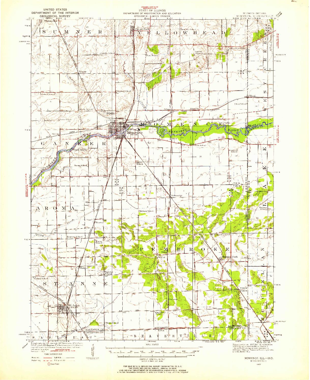 USGS 1:62500-SCALE QUADRANGLE FOR MOMENCE, IL 1922