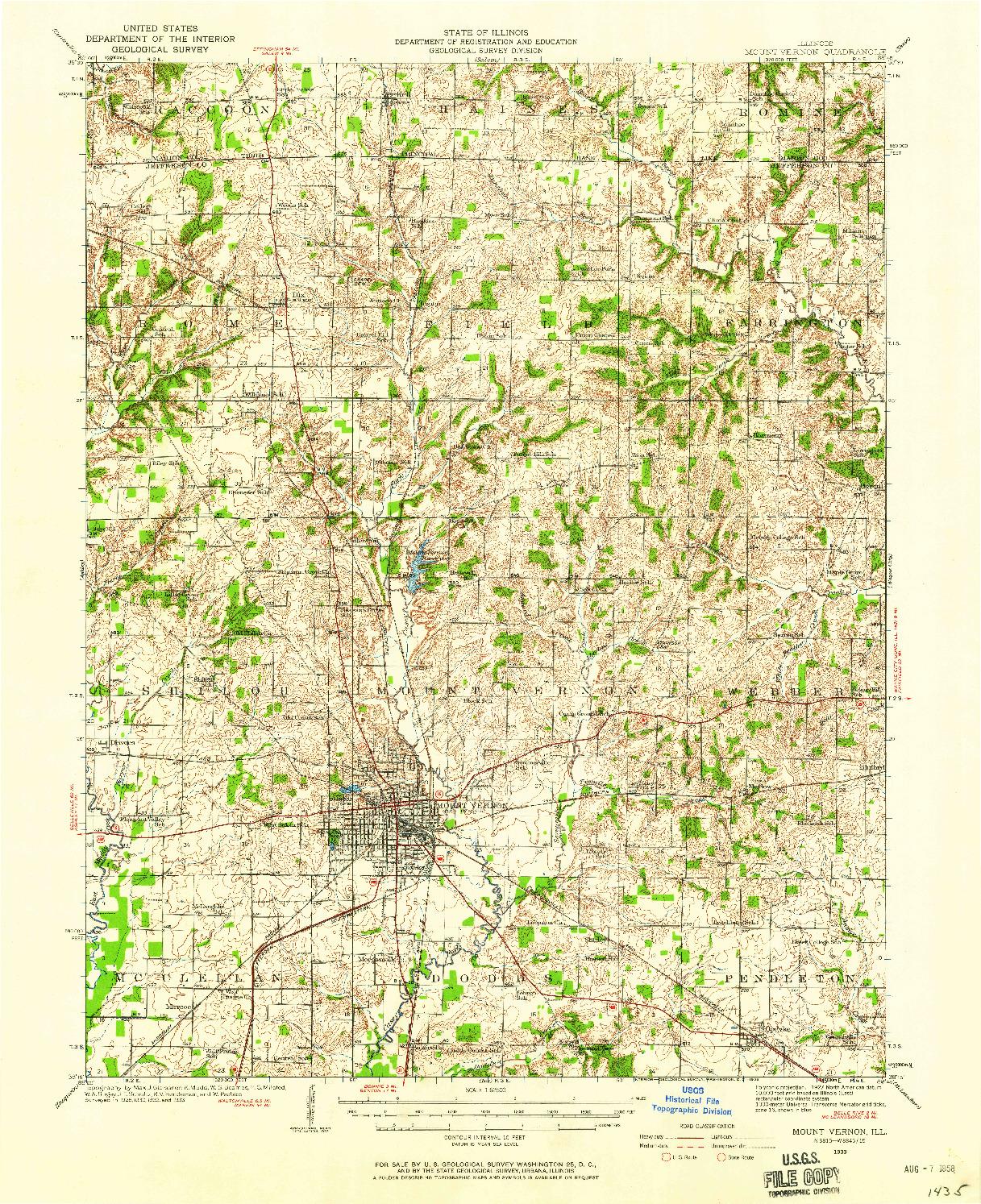 USGS 1:62500-SCALE QUADRANGLE FOR MOUNT VERNON, IL 1933