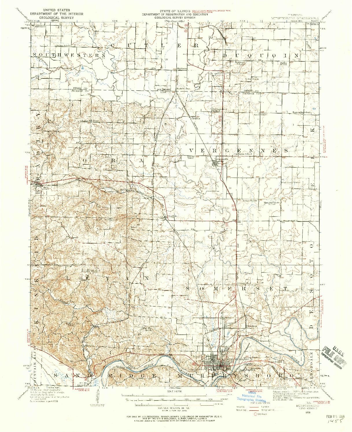 USGS 1:62500-SCALE QUADRANGLE FOR MURPHYSBORO, IL 1938