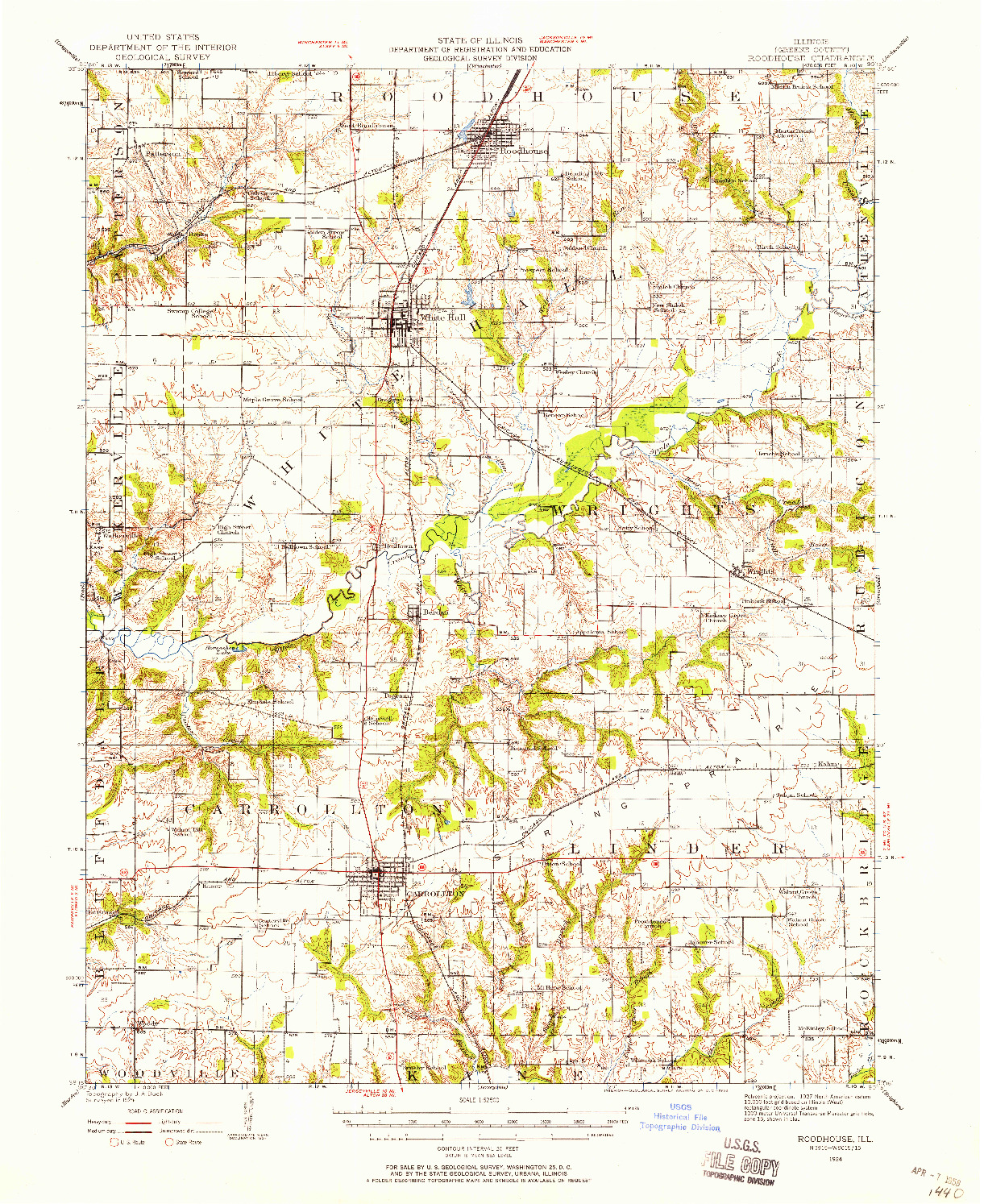 USGS 1:62500-SCALE QUADRANGLE FOR ROODHOUSE, IL 1924