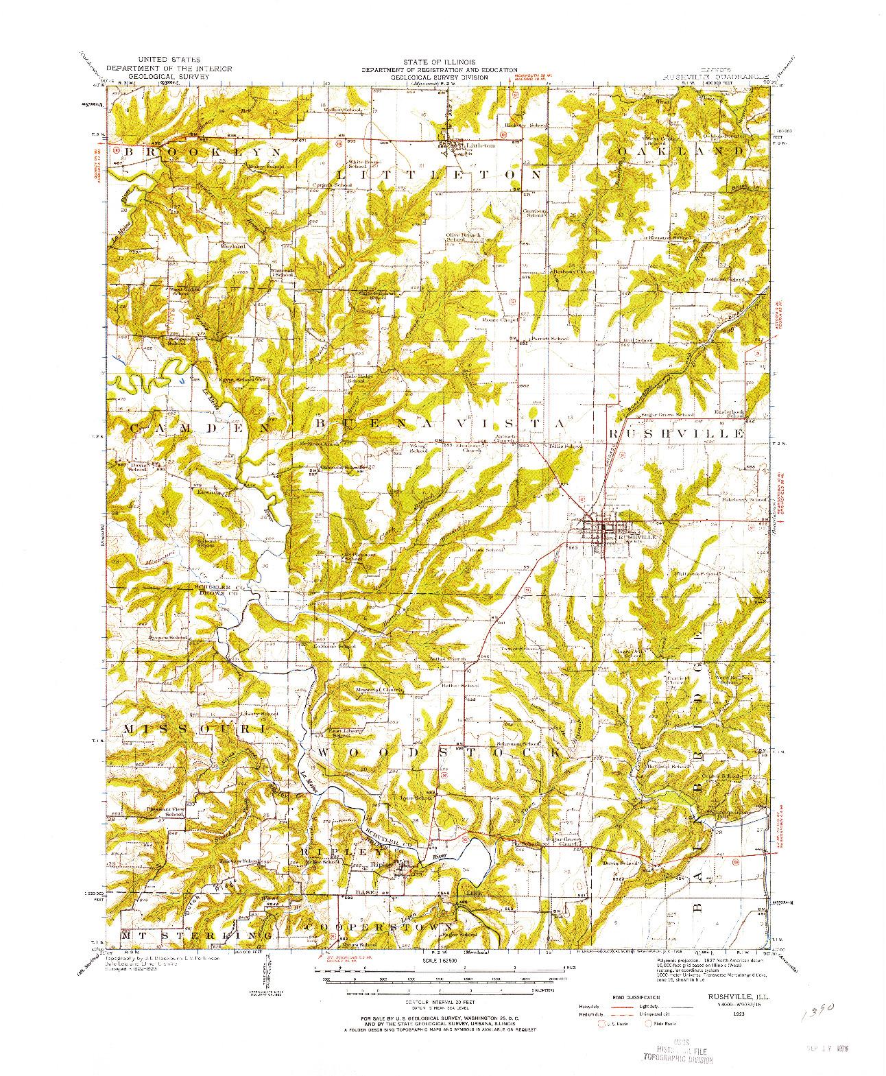 USGS 1:62500-SCALE QUADRANGLE FOR RUSHVILLE, IL 1923