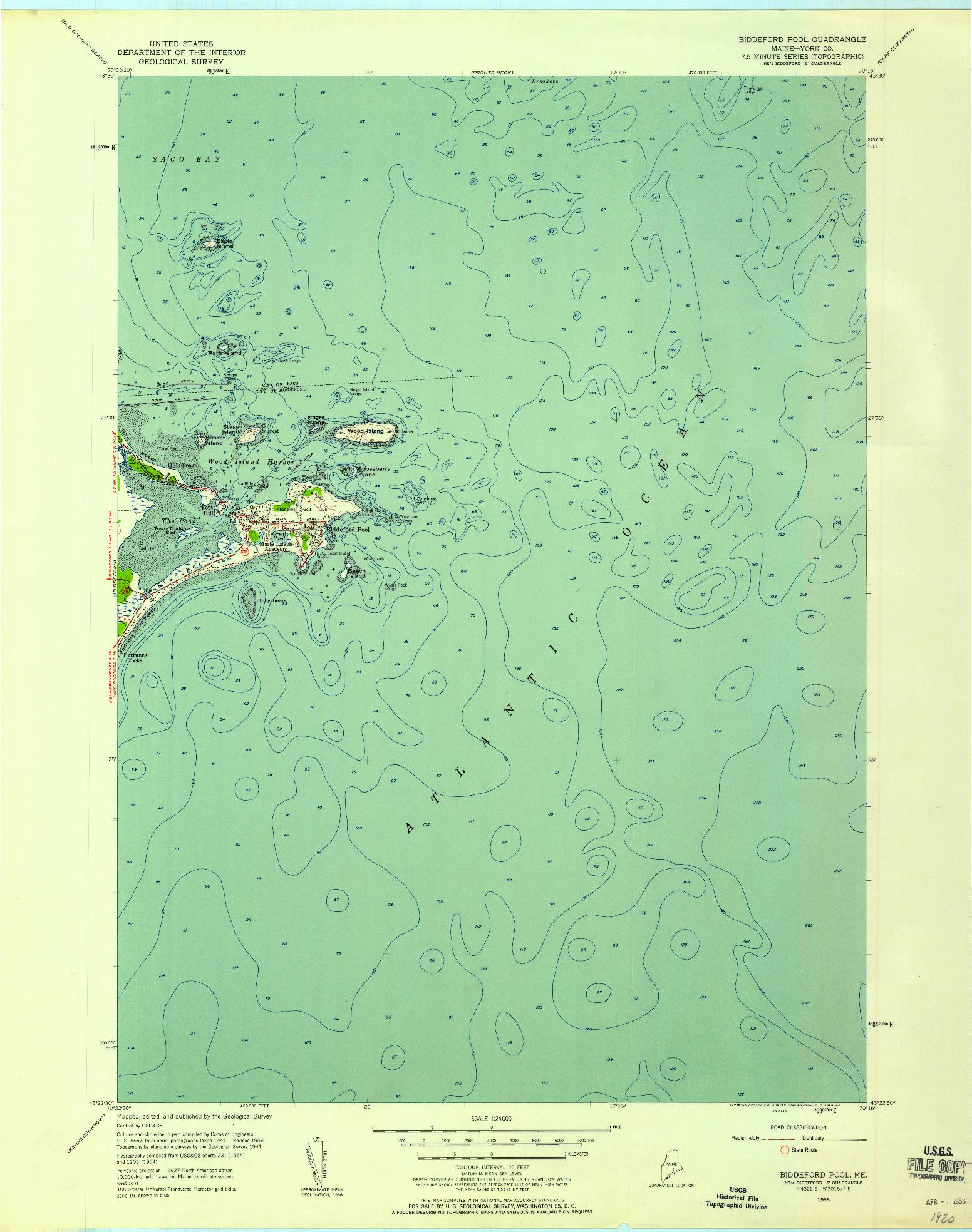 USGS 1:24000-SCALE QUADRANGLE FOR BIDDEFORD POOL, ME 1956
