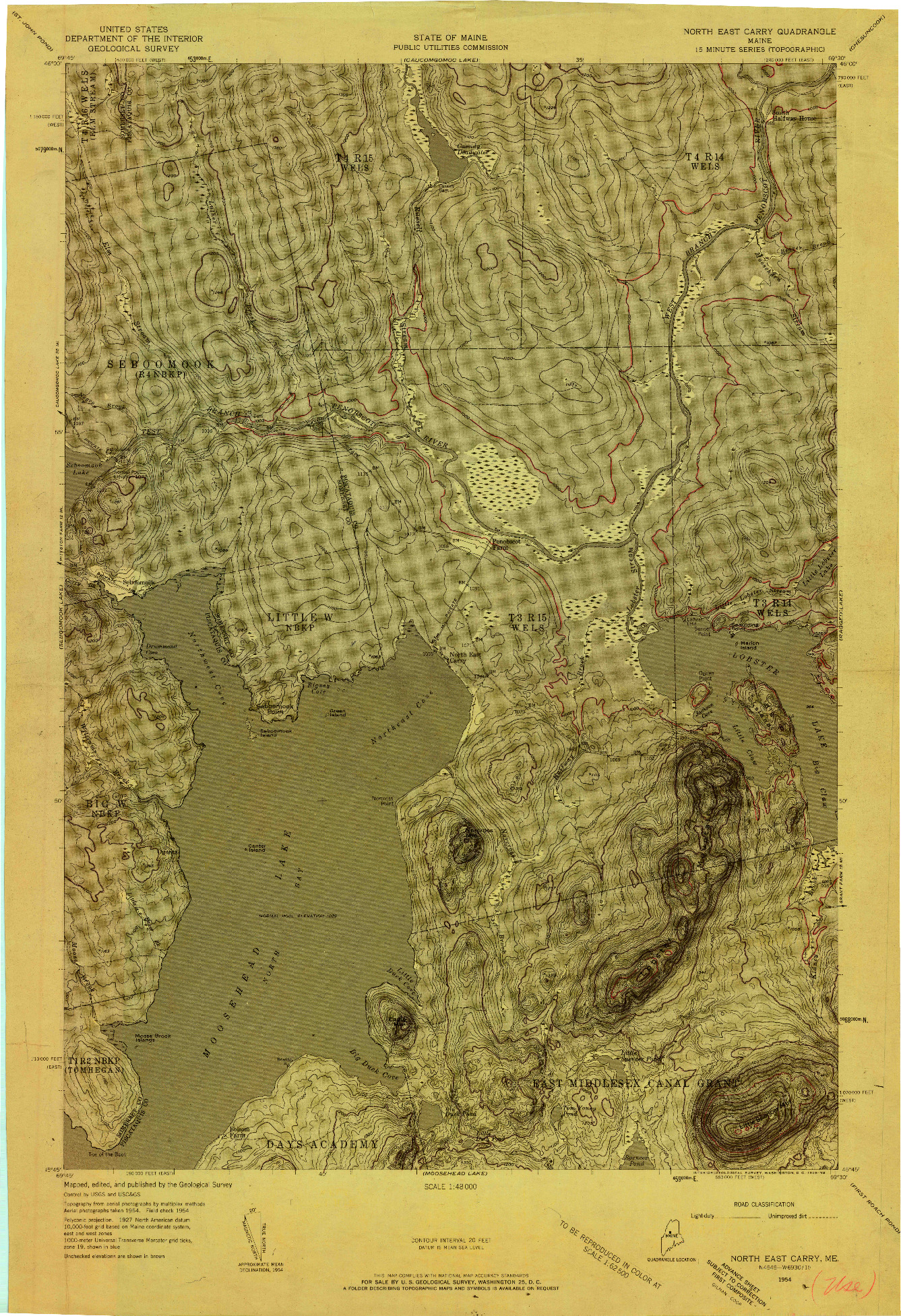 USGS 1:48000-SCALE QUADRANGLE FOR NORTH EAST CARRY, ME 1954