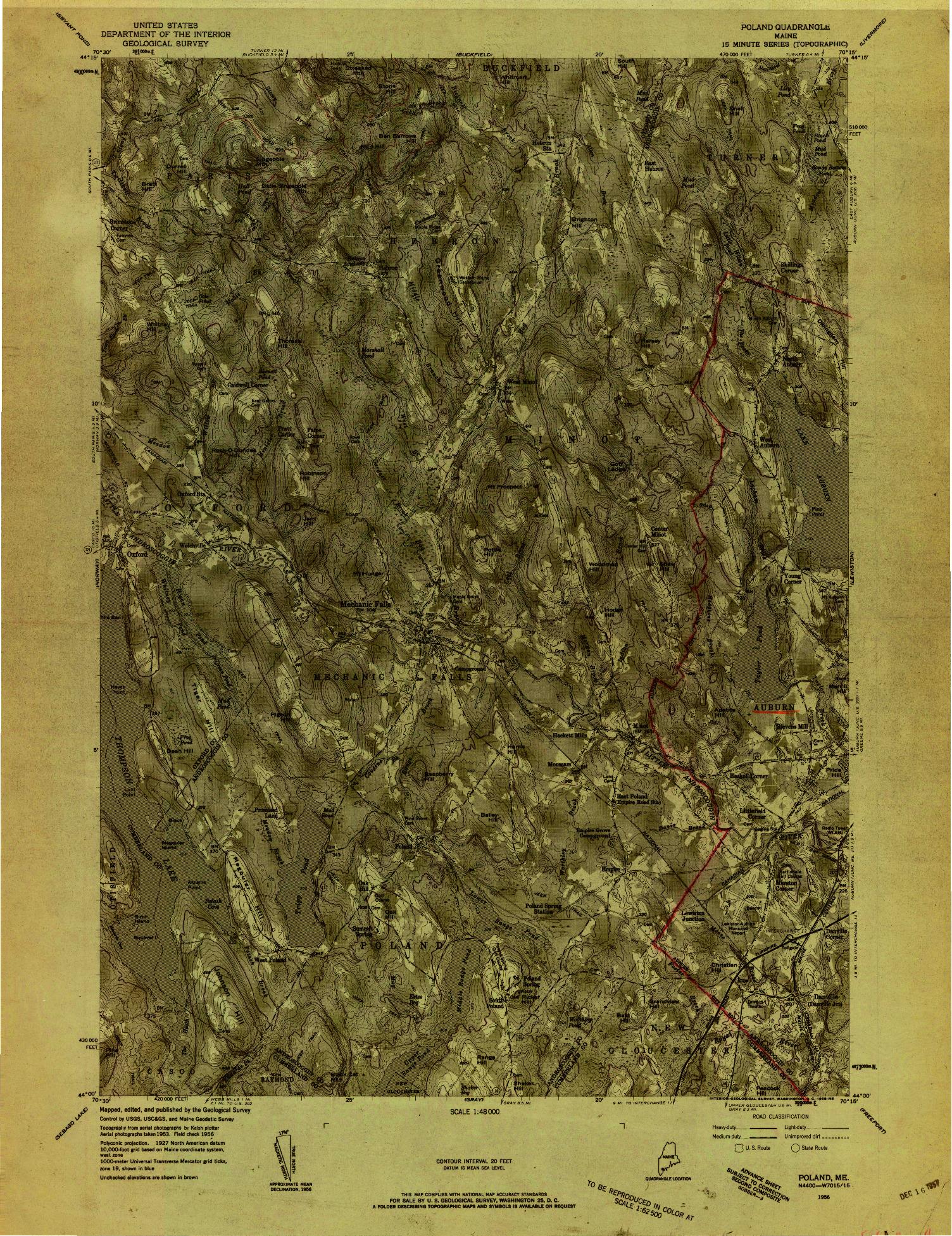 USGS 1:48000-SCALE QUADRANGLE FOR POLAND, ME 1956