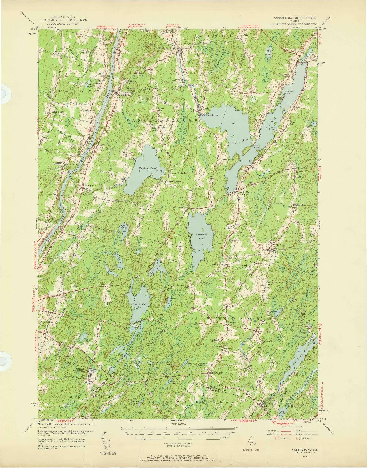 USGS 1:62500-SCALE QUADRANGLE FOR VASSALBORO, ME 1956