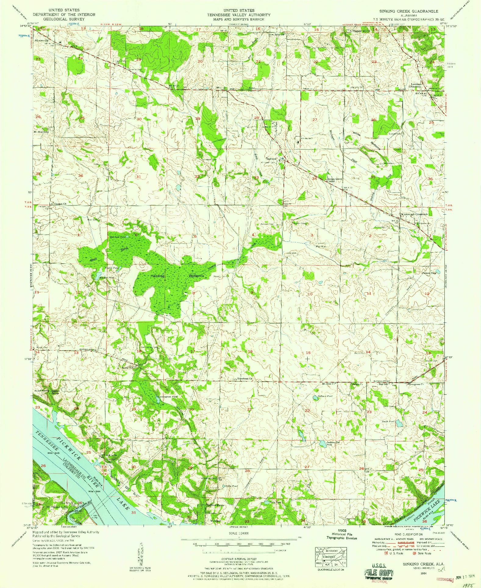 USGS 1:24000-SCALE QUADRANGLE FOR SINKING CREEK, AL 1954