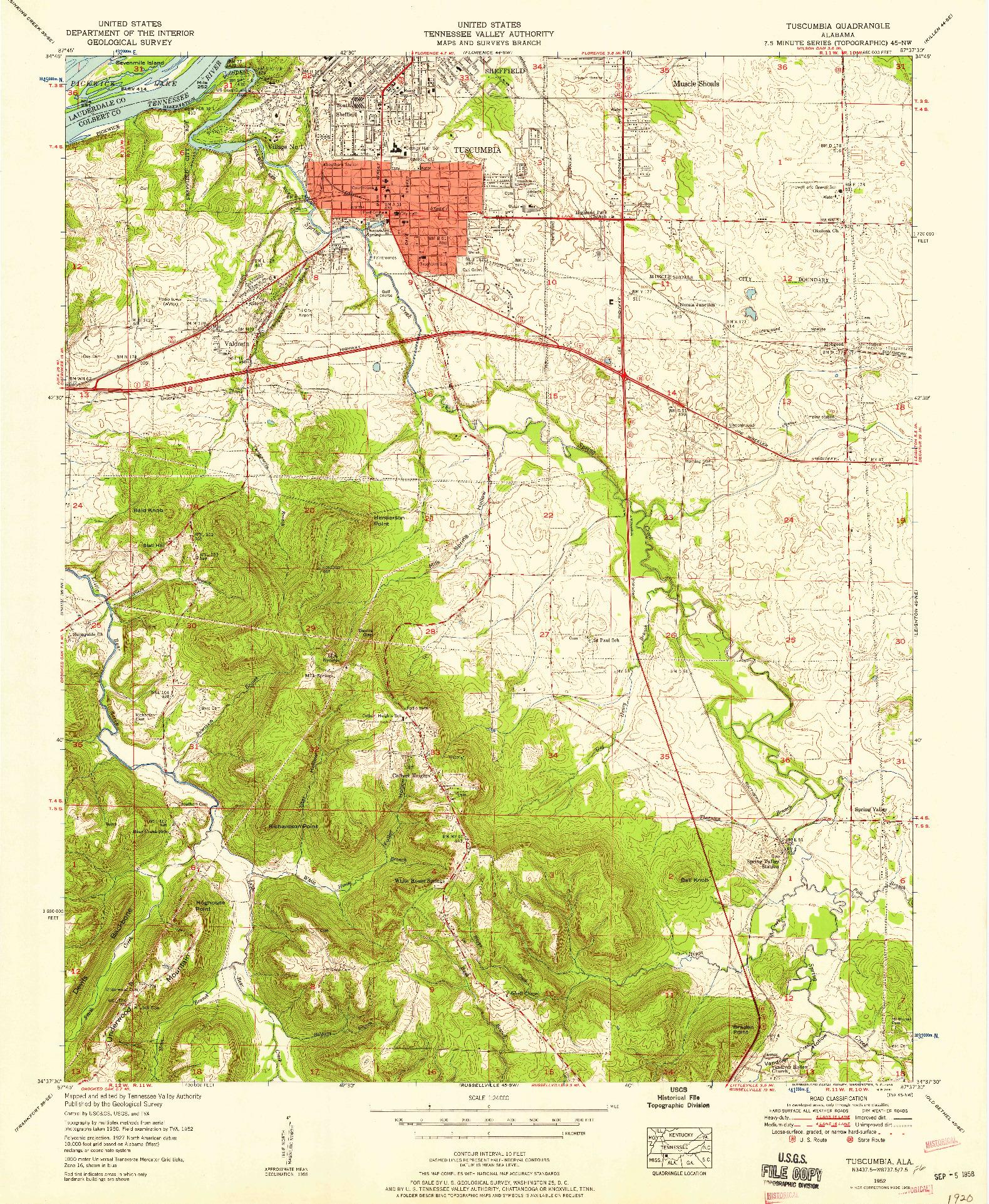 USGS 1:24000-SCALE QUADRANGLE FOR TUSCUMBIA, AL 1952
