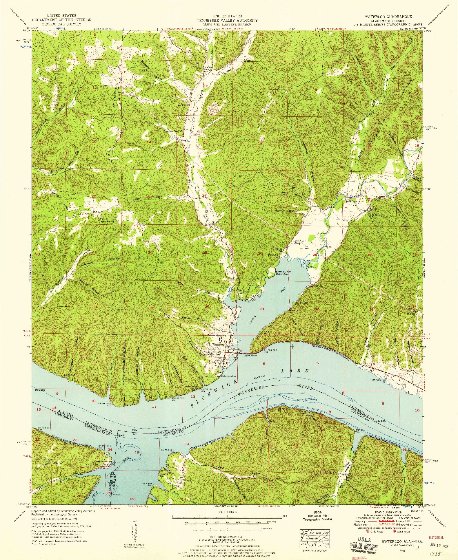 USGS 1:24000-SCALE QUADRANGLE FOR WATERLOO, AL 1953