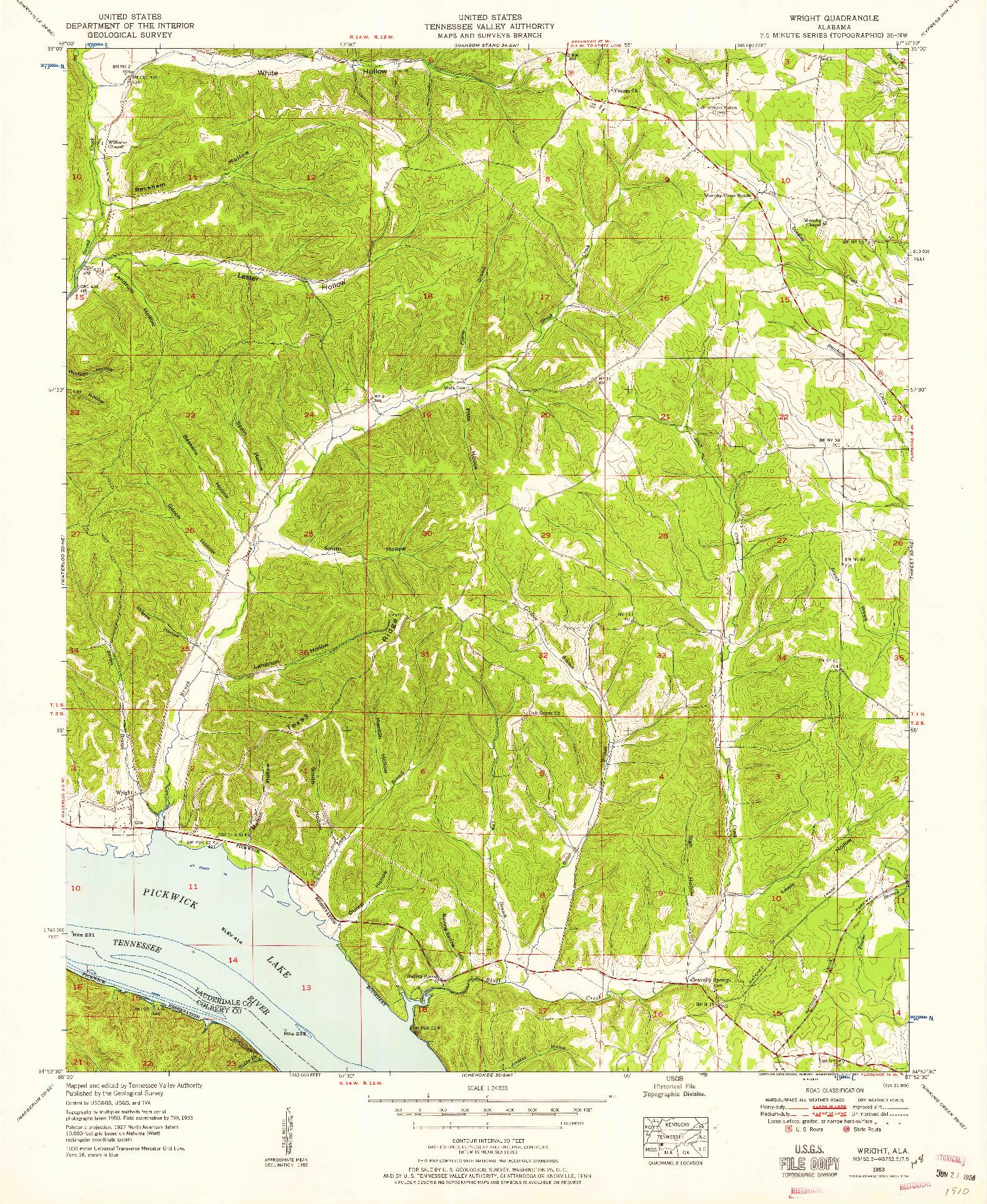 USGS 1:24000-SCALE QUADRANGLE FOR WRIGHT, AL 1953