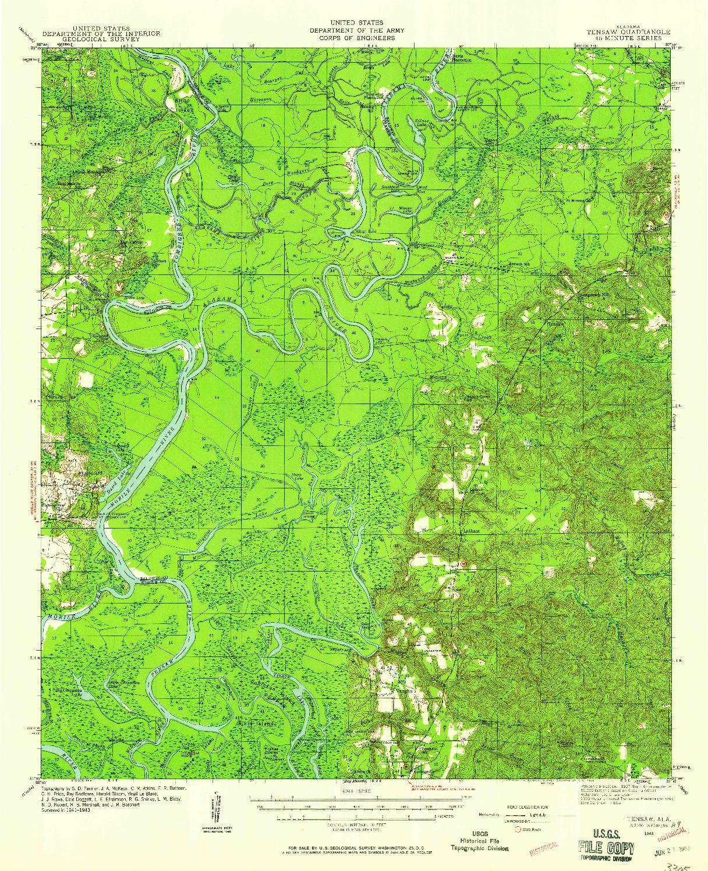 USGS 1:62500-SCALE QUADRANGLE FOR TENSAW, AL 1943