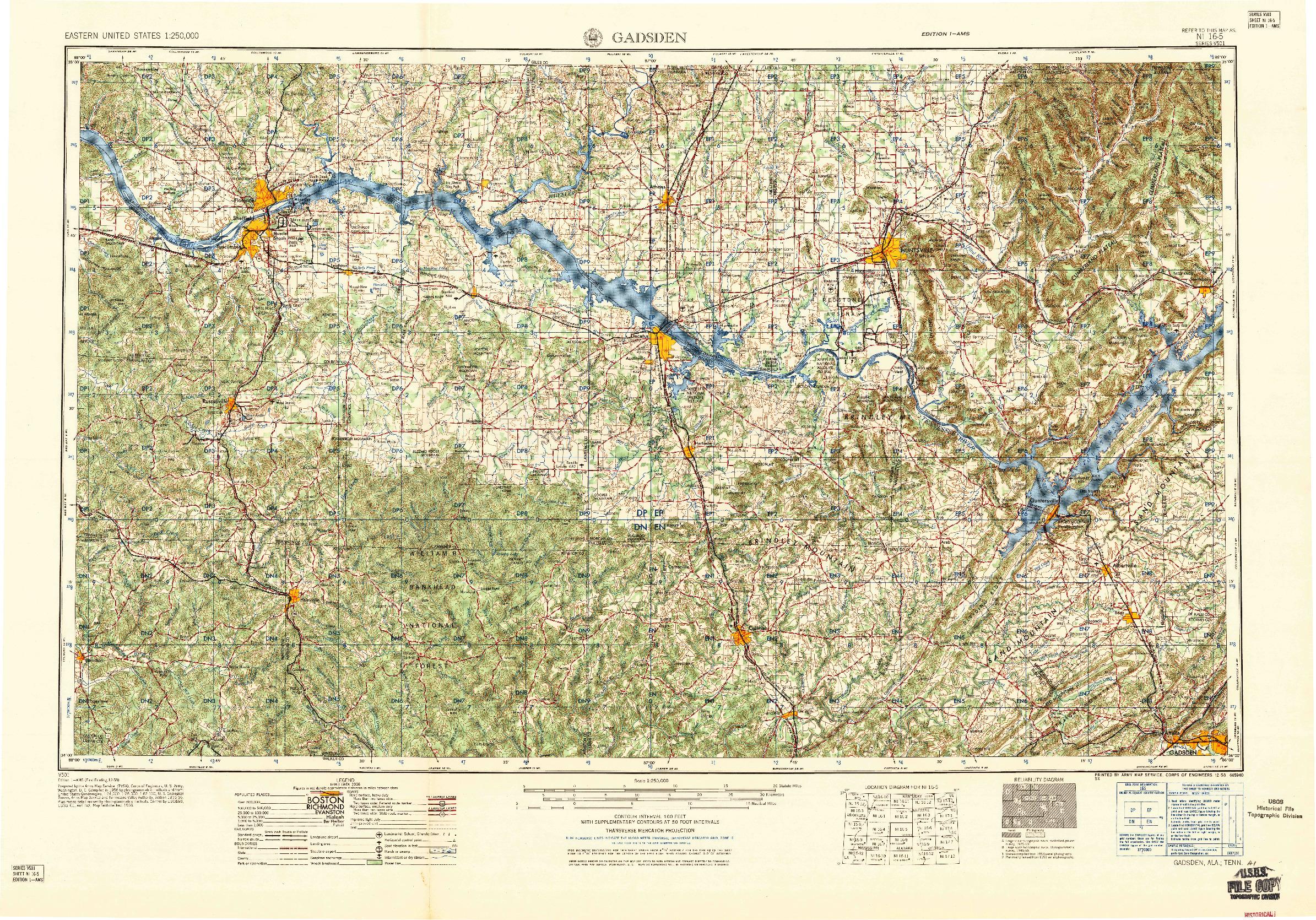USGS 1:250000-SCALE QUADRANGLE FOR GADSDEN, AL 1958