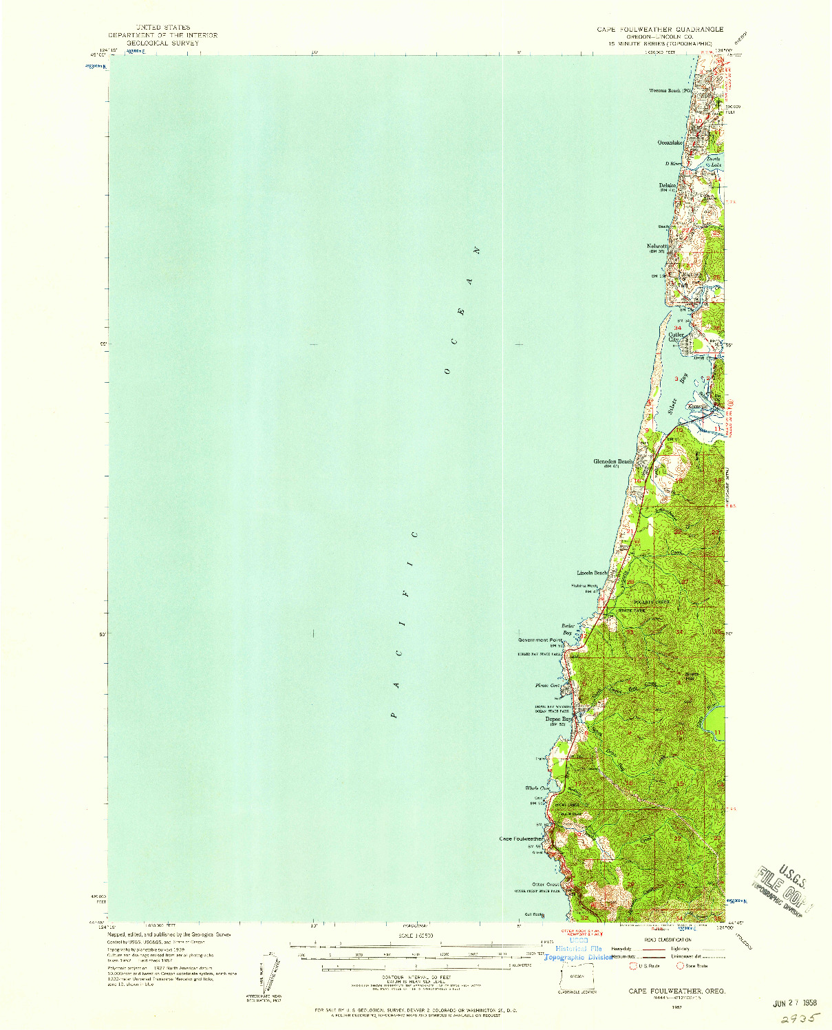 USGS 1:62500-SCALE QUADRANGLE FOR CAPE FOULWEATHER, OR 1957