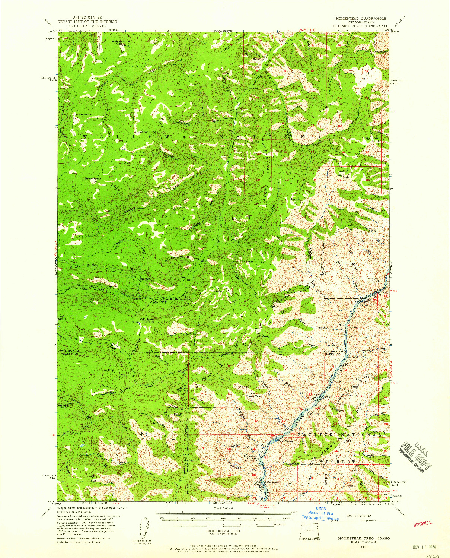 USGS 1:62500-SCALE QUADRANGLE FOR HOMESTEAD, OR 1957