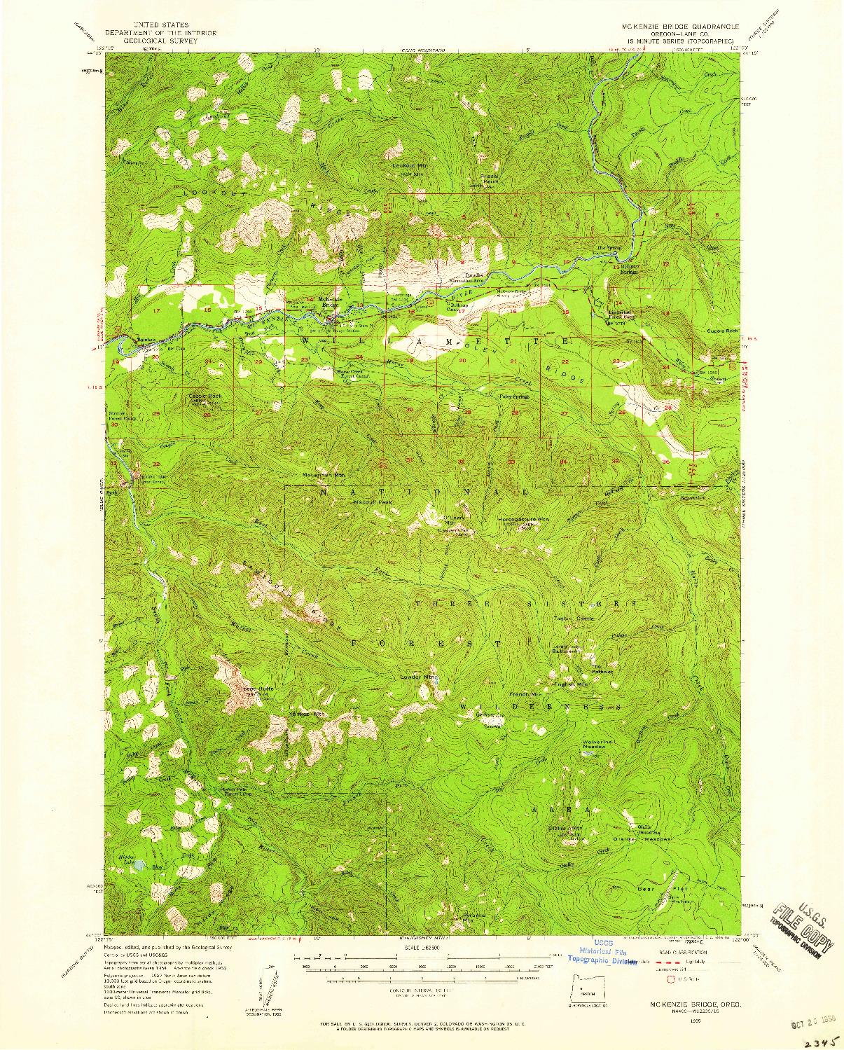 USGS 1:62500-SCALE QUADRANGLE FOR MC KENZIE BRIDGE, OR 1955