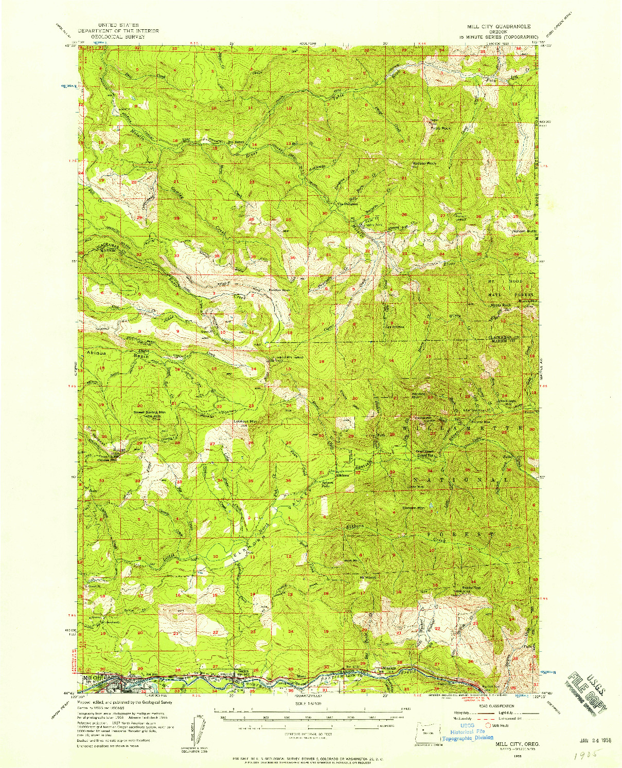 USGS 1:62500-SCALE QUADRANGLE FOR MILL CITY, OR 1955