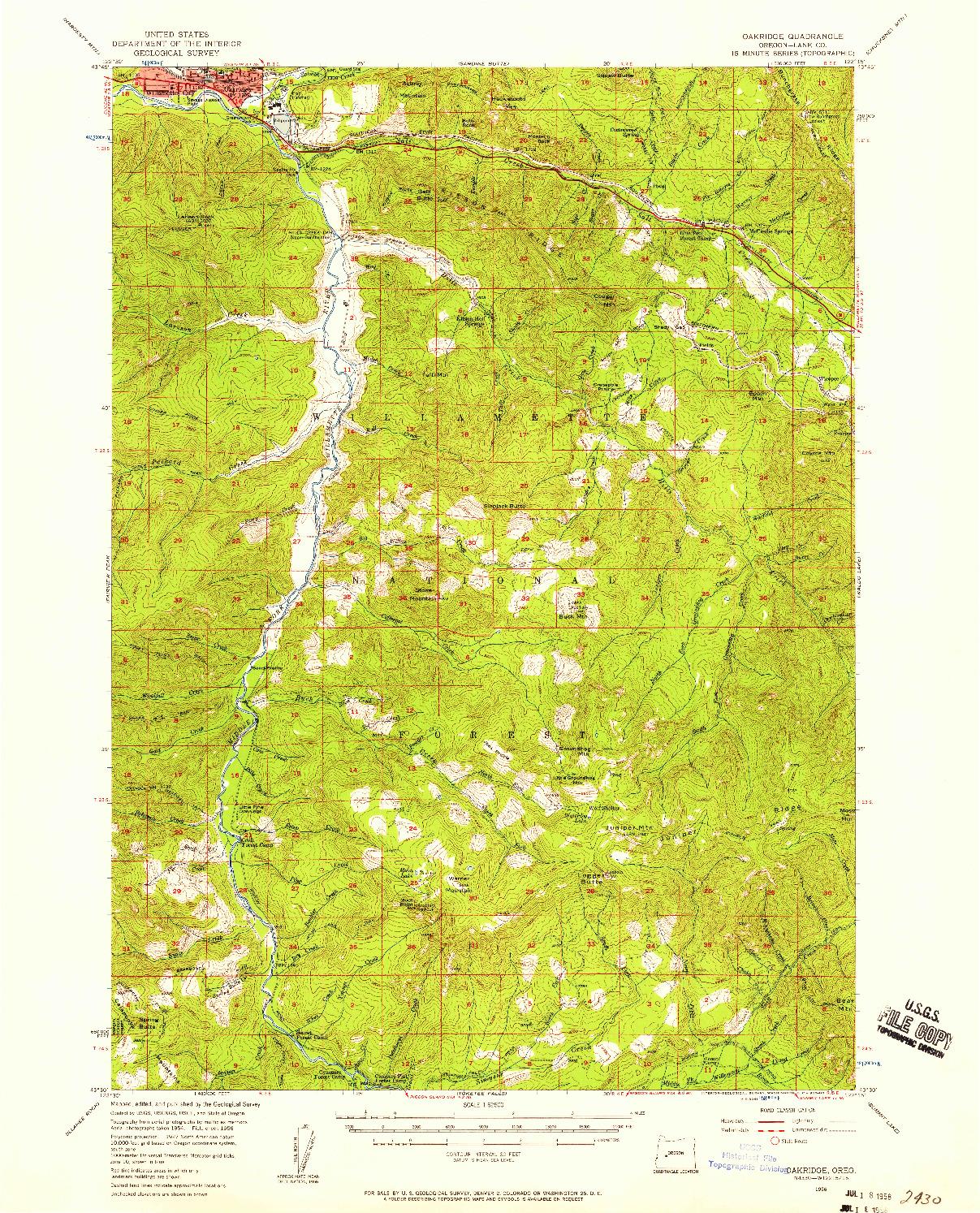 USGS 1:62500-SCALE QUADRANGLE FOR OAKRIDGE, OR 1956