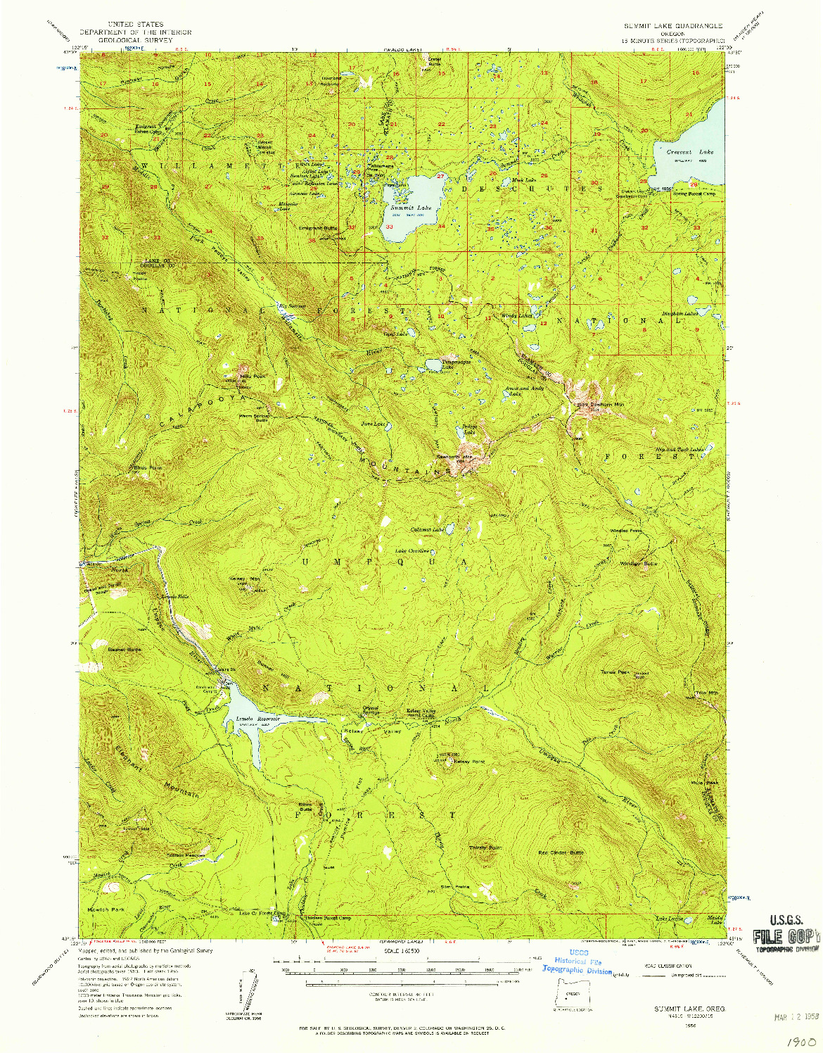 USGS 1:62500-SCALE QUADRANGLE FOR SUMMIT LAKE, OR 1956
