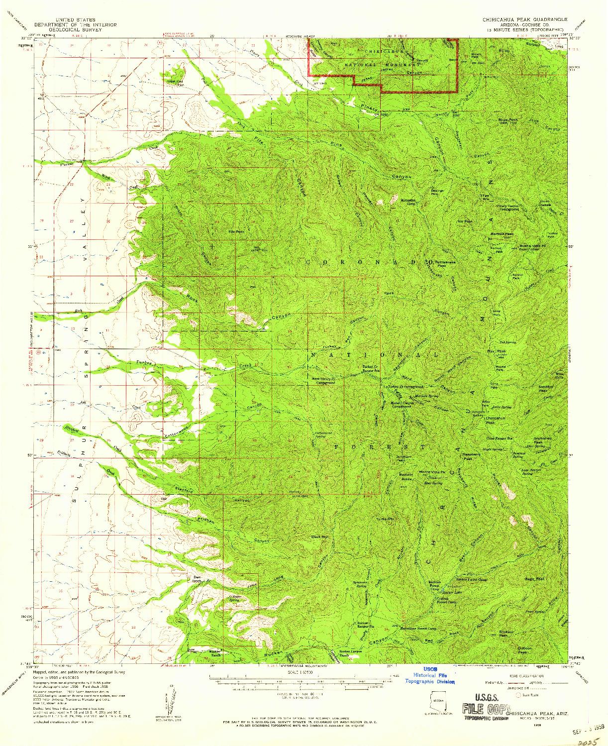 USGS 1:62500-SCALE QUADRANGLE FOR CHIRICAHUA PEAK, AZ 1958