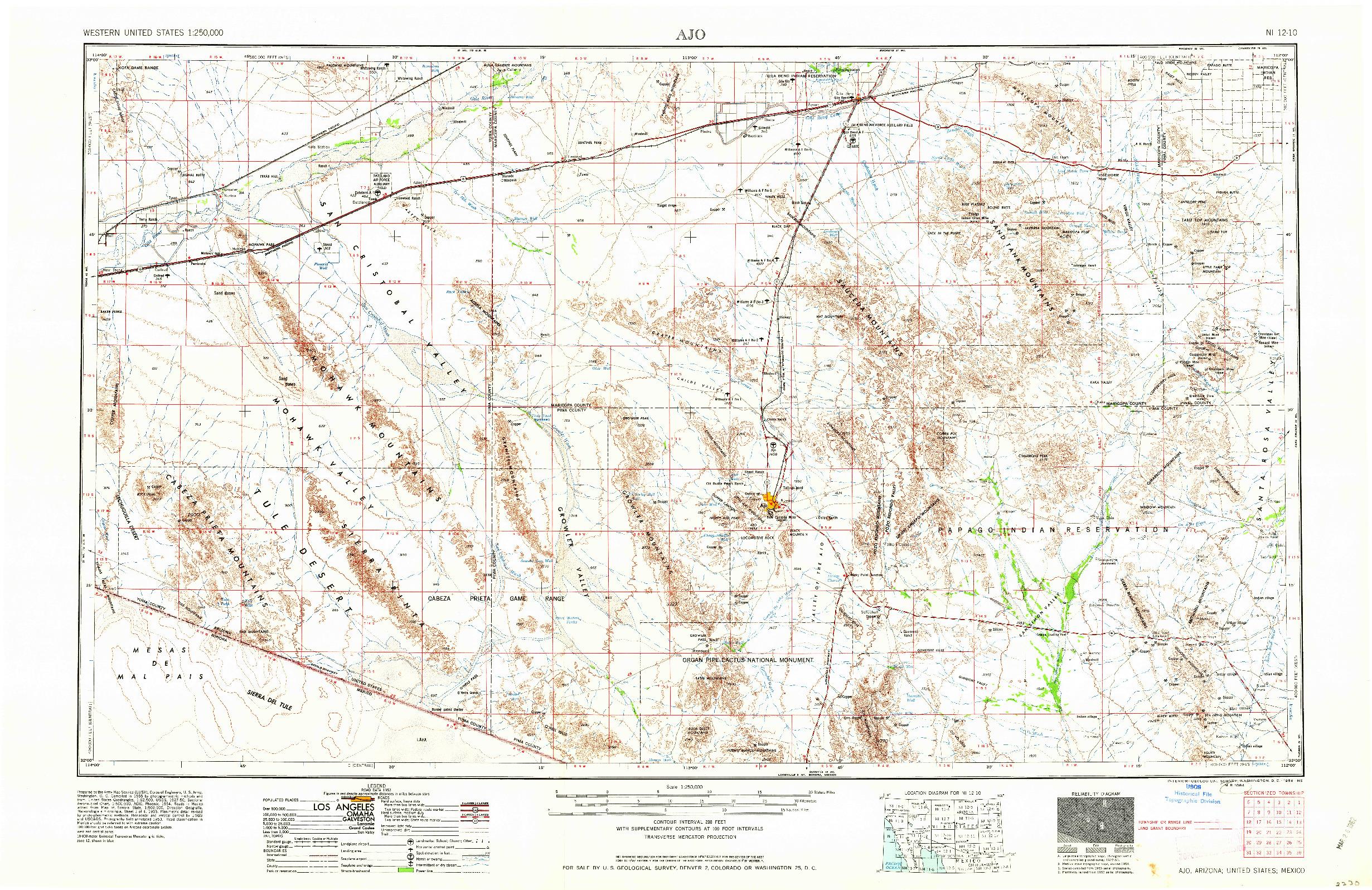 USGS 1:250000-SCALE QUADRANGLE FOR AJO, AZ 1958
