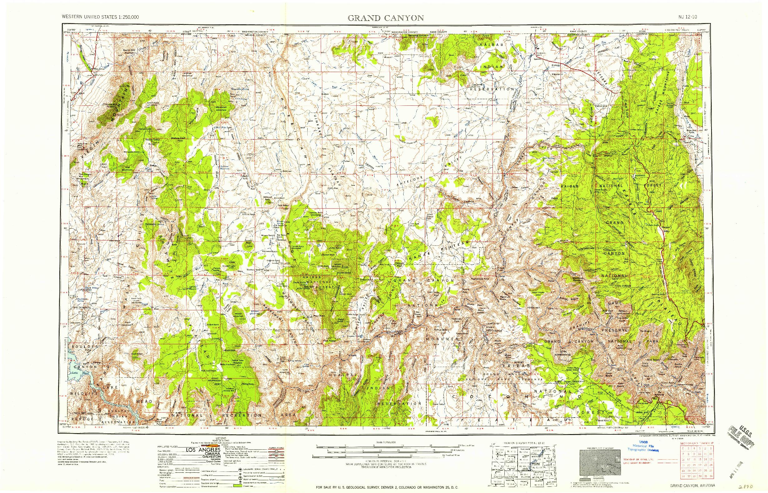 USGS 1:250000-SCALE QUADRANGLE FOR GRAND CANYON, AZ 1958