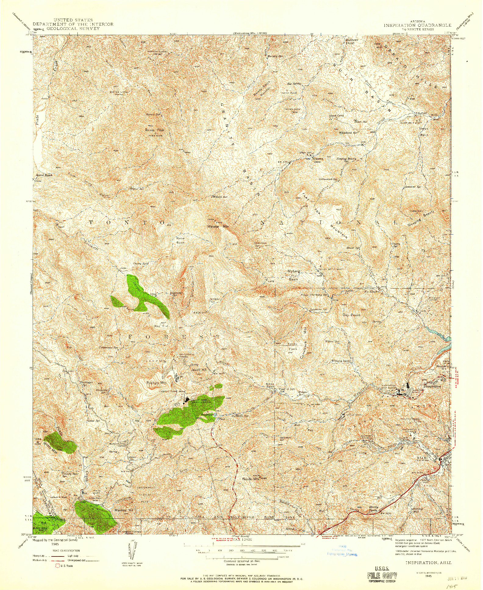 USGS 1:24000-SCALE QUADRANGLE FOR INSPIRATION, AZ 1945