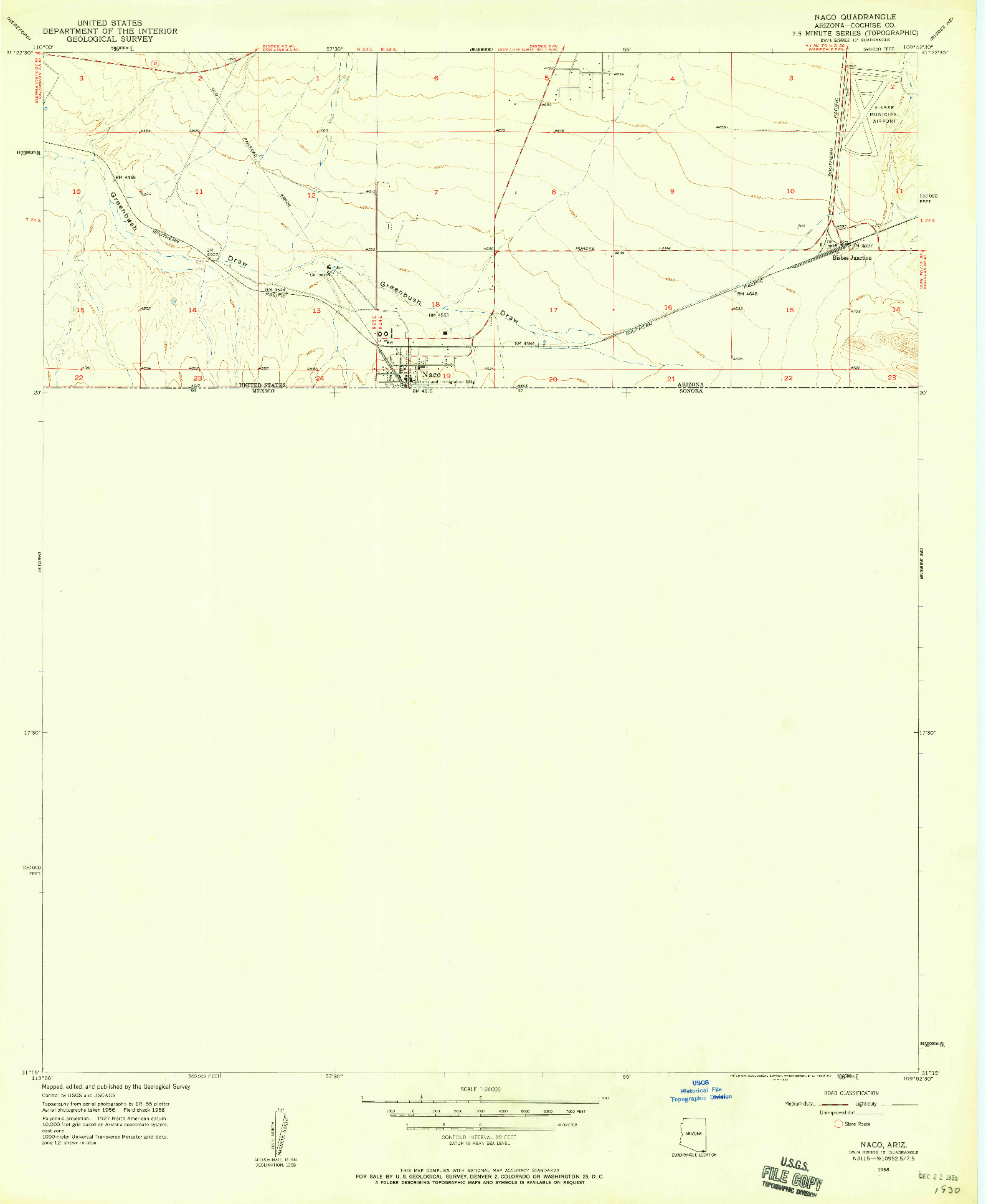 USGS 1:24000-SCALE QUADRANGLE FOR NACO, AZ 1958