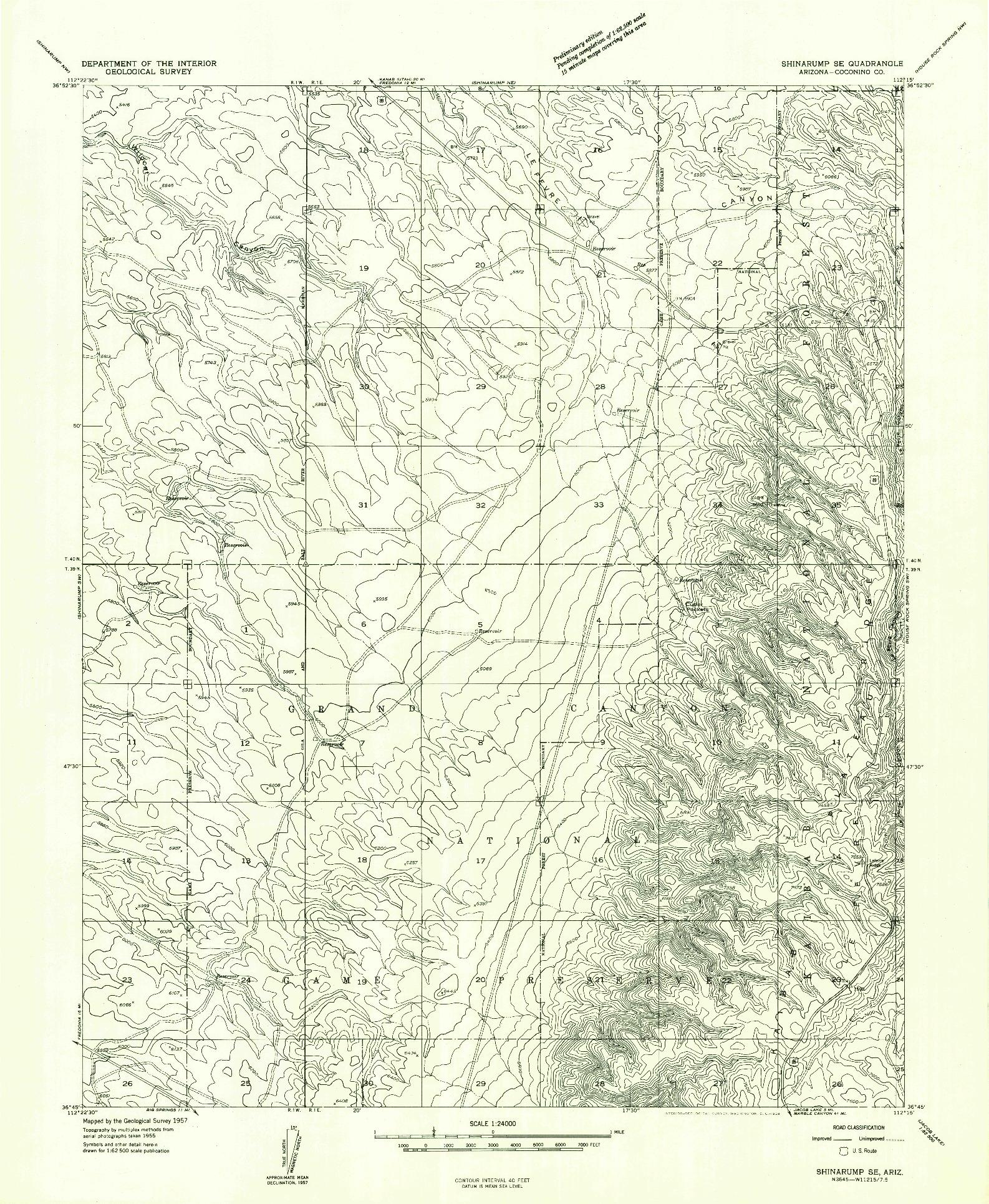 USGS 1:24000-SCALE QUADRANGLE FOR SHINARUMP SE, AZ 1957