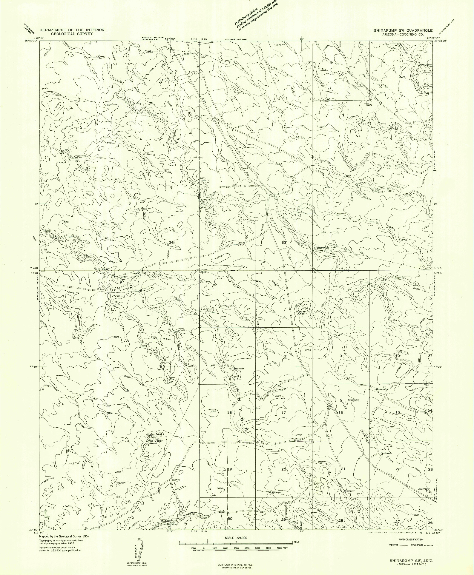 USGS 1:24000-SCALE QUADRANGLE FOR SHINARUMP SW, AZ 1957