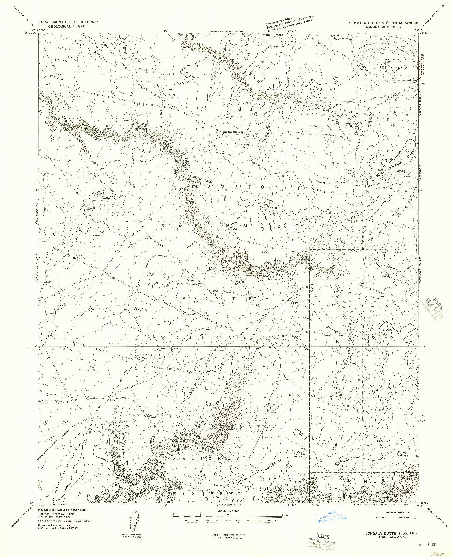 USGS 1:24000-SCALE QUADRANGLE FOR SONSALA BUTTE 2 SE, AZ 1955