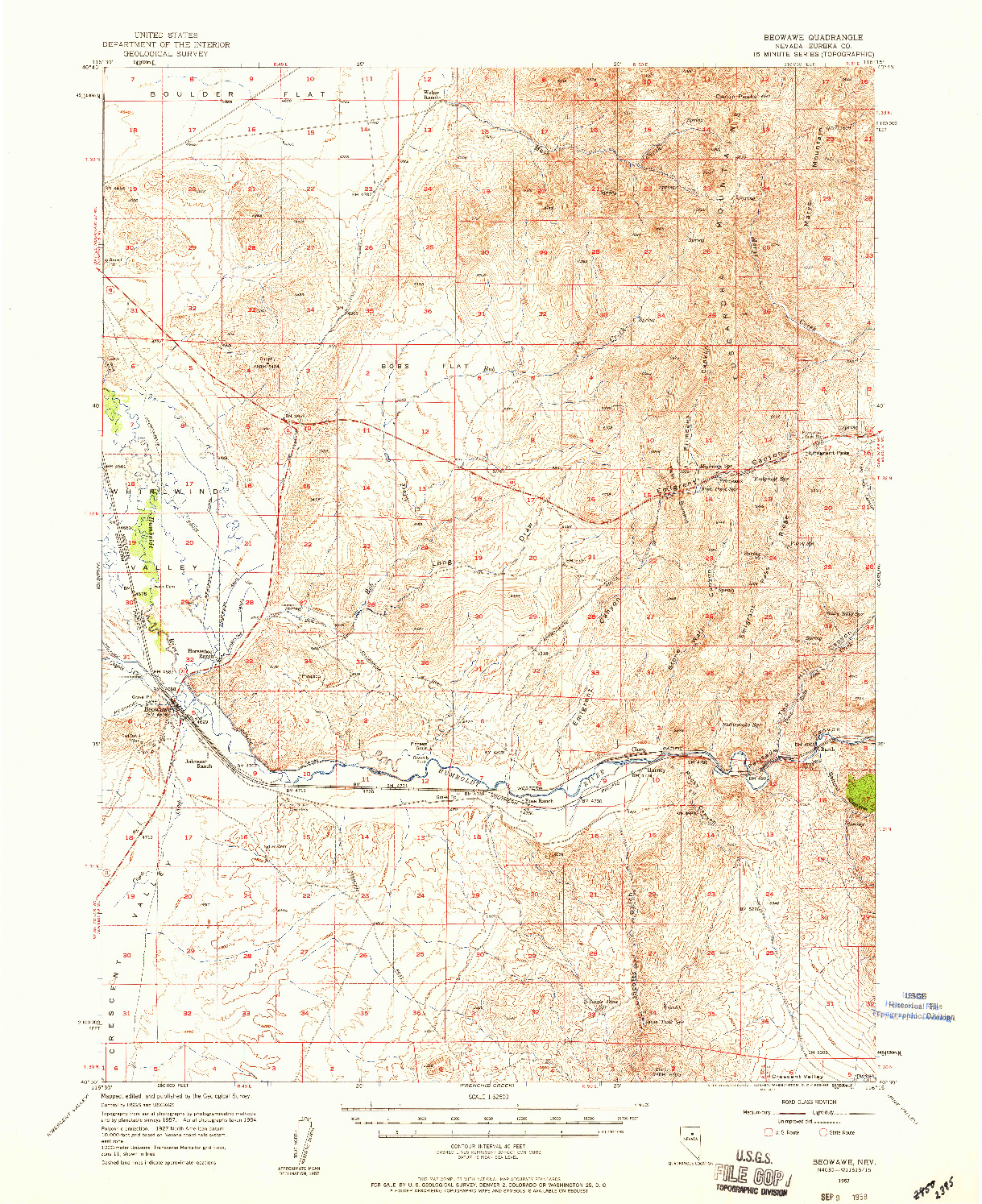 USGS 1:62500-SCALE QUADRANGLE FOR BEOWAWE, NV 1957
