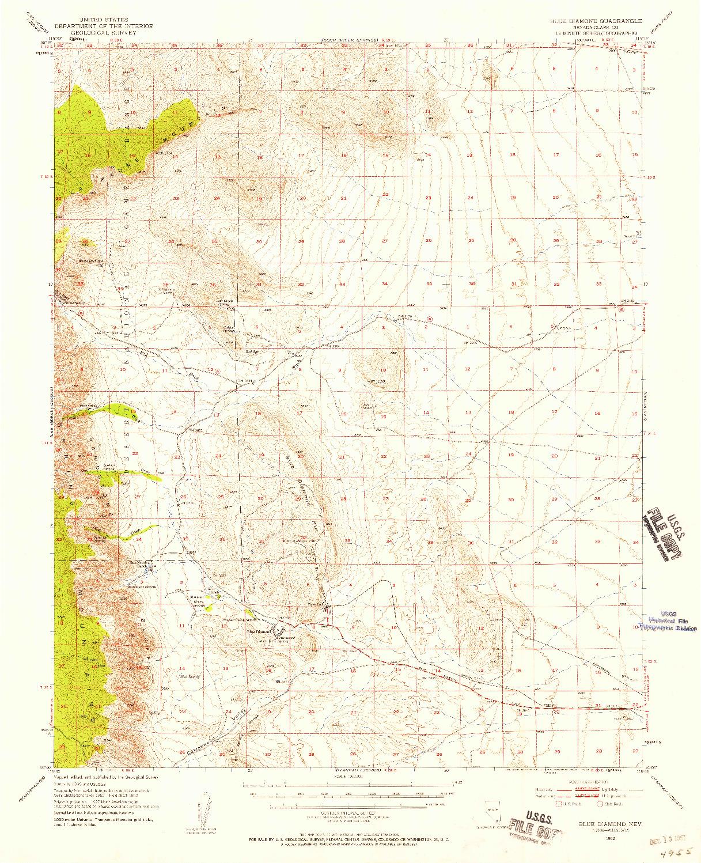 USGS 1:62500-SCALE QUADRANGLE FOR BLUE DIAMOND, NV 1952