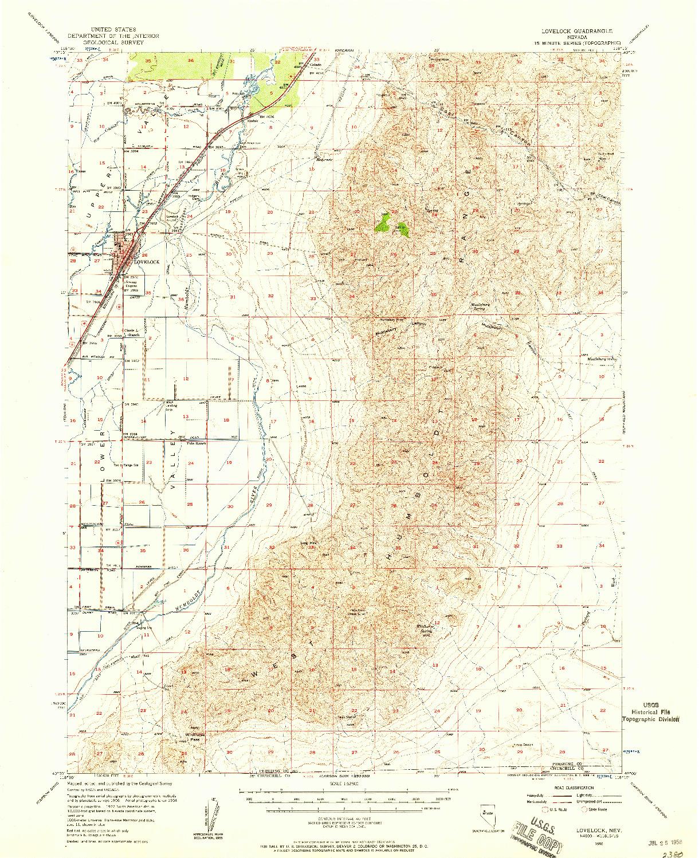 USGS 1:62500-SCALE QUADRANGLE FOR LOVELOCK, NV 1956