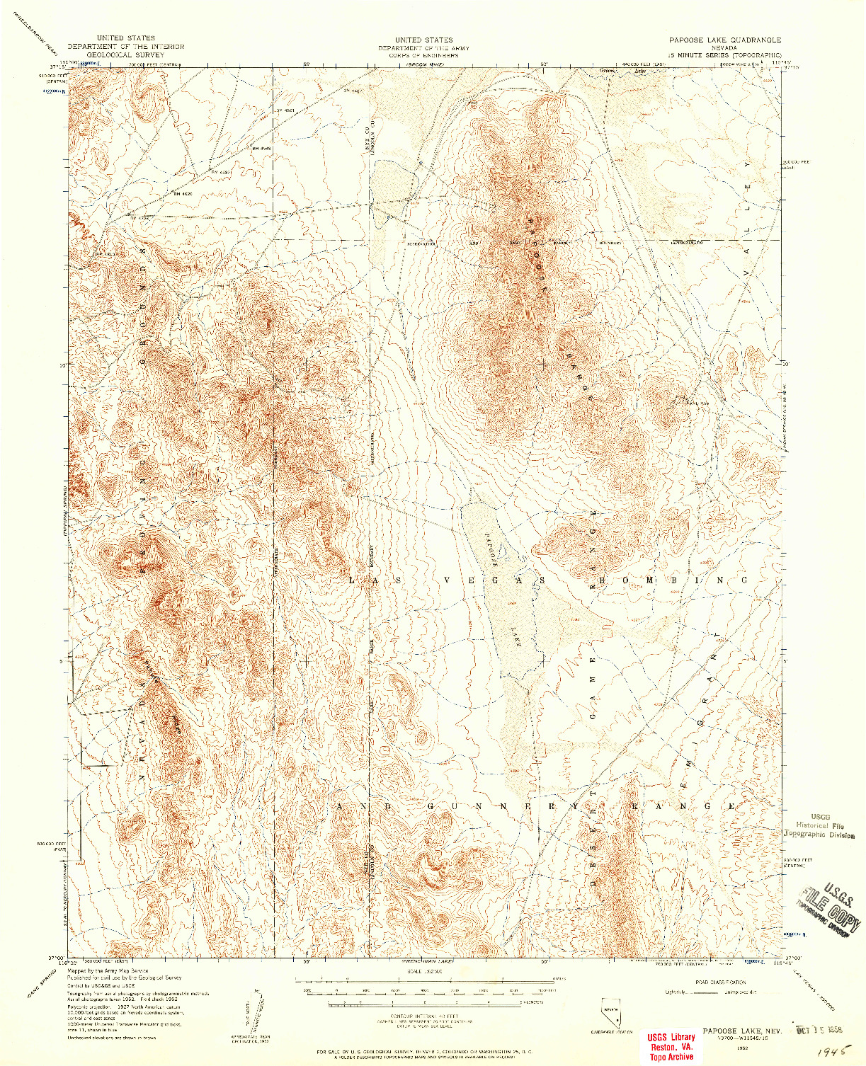 USGS 1:62500-SCALE QUADRANGLE FOR PAPOOSE LAKE, NV 1952