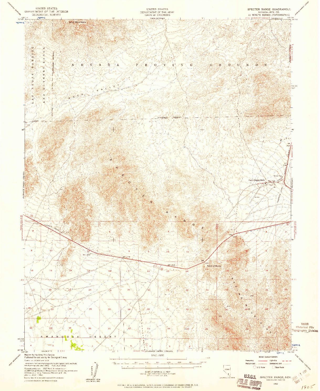 USGS 1:62500-SCALE QUADRANGLE FOR SPECTER RANGE, NV 1952