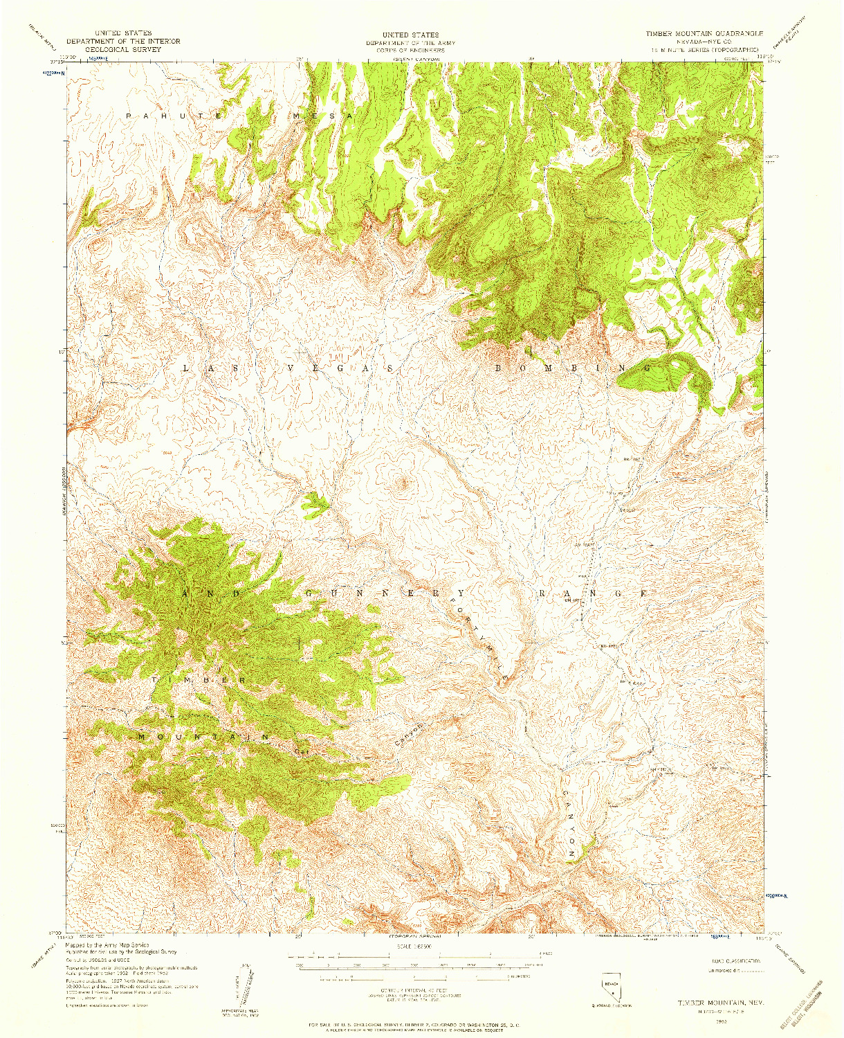 USGS 1:62500-SCALE QUADRANGLE FOR TIMBER MOUNTAIN, NV 1952