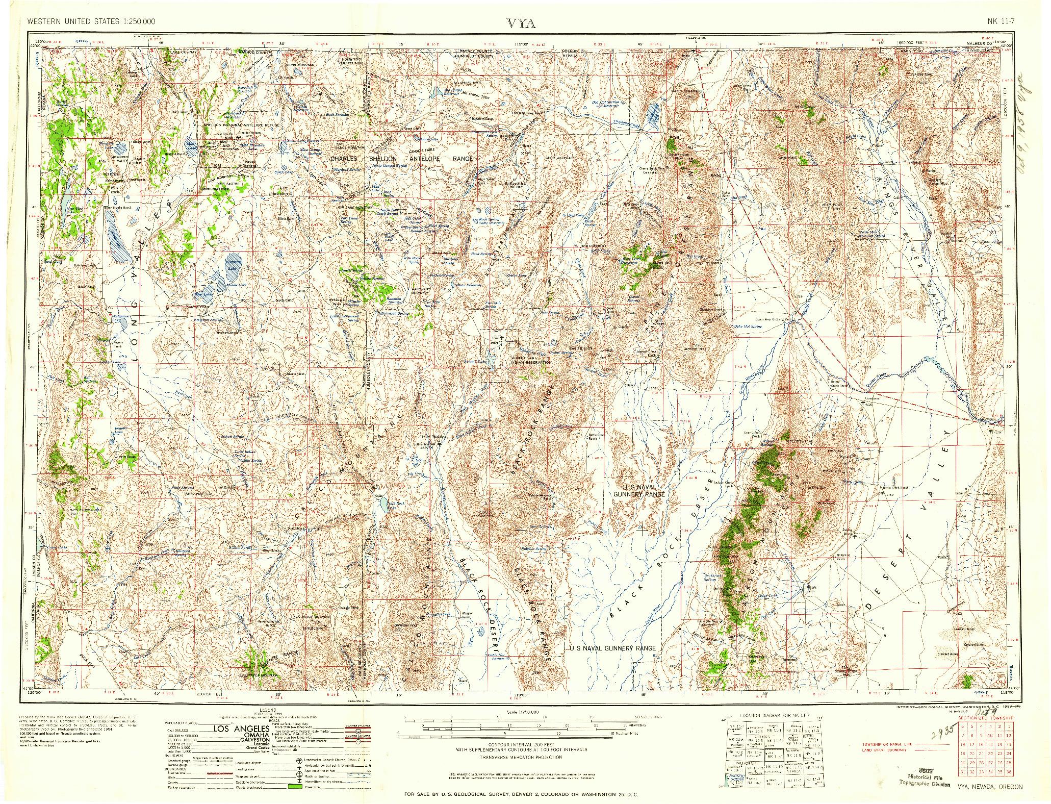 USGS 1:250000-SCALE QUADRANGLE FOR VYA, NV 1958